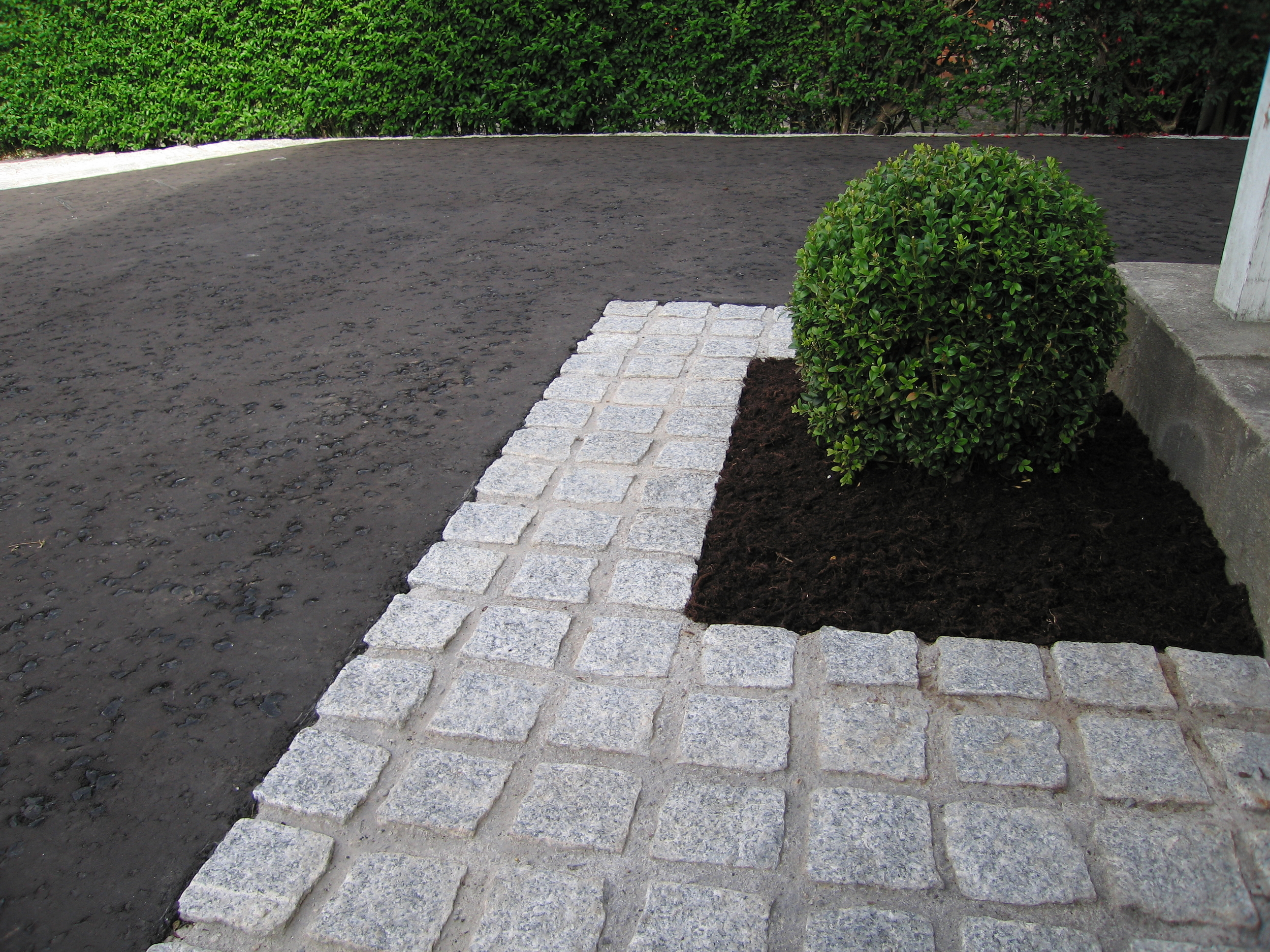 driveway and garden design using box and granite from ced