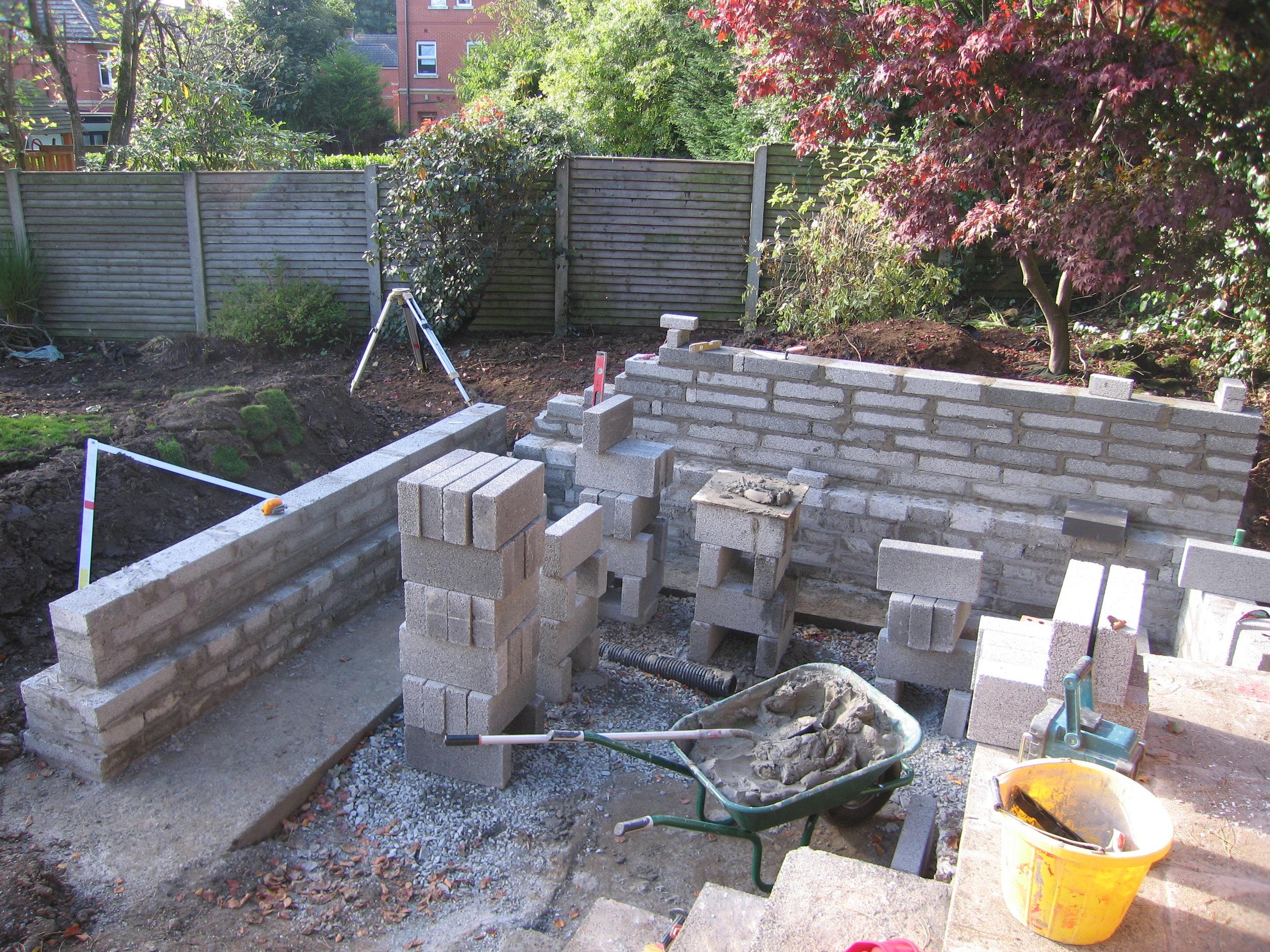 Garden walls in belfast using blockwork