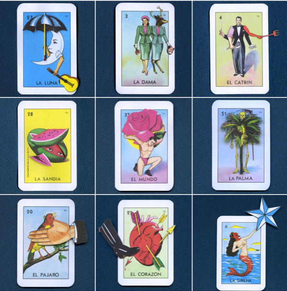 Set of reimagined Loteria characters