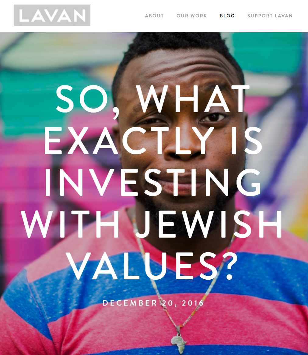 So, What Exactly is Impact Investing with Jewish Values? ,  by Beth deBeer and Avi Deutsch   A framework for integrating Jewish values into the investment process by looking at investors' motivations, the investment process, and different investment opportunities