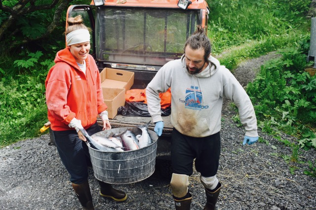 peroke blog--noah+Lizzie with salmon bucket.jpeg