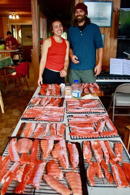 Naphtali and Aaron with salmon on racks.jpeg
