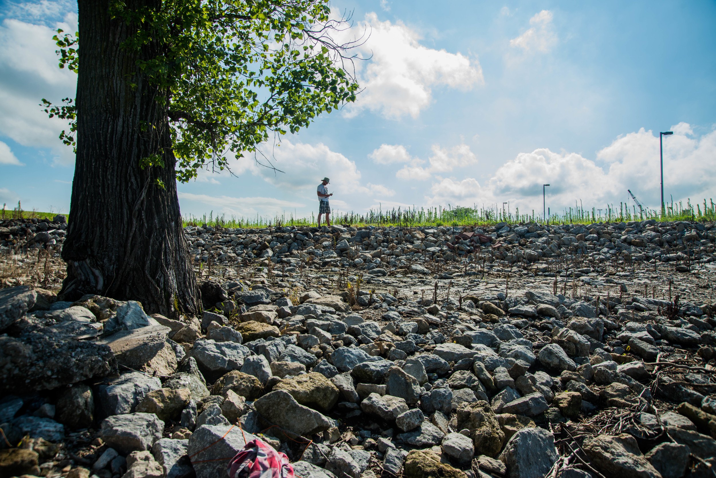Areas before and after lock and dams, and at other various parts of the river, were covered with sections of broken up rocks and gravel called rip-rap. We would come to know rip-rap quite well and spend much time precariously balancing upon its loose, unstable existence.