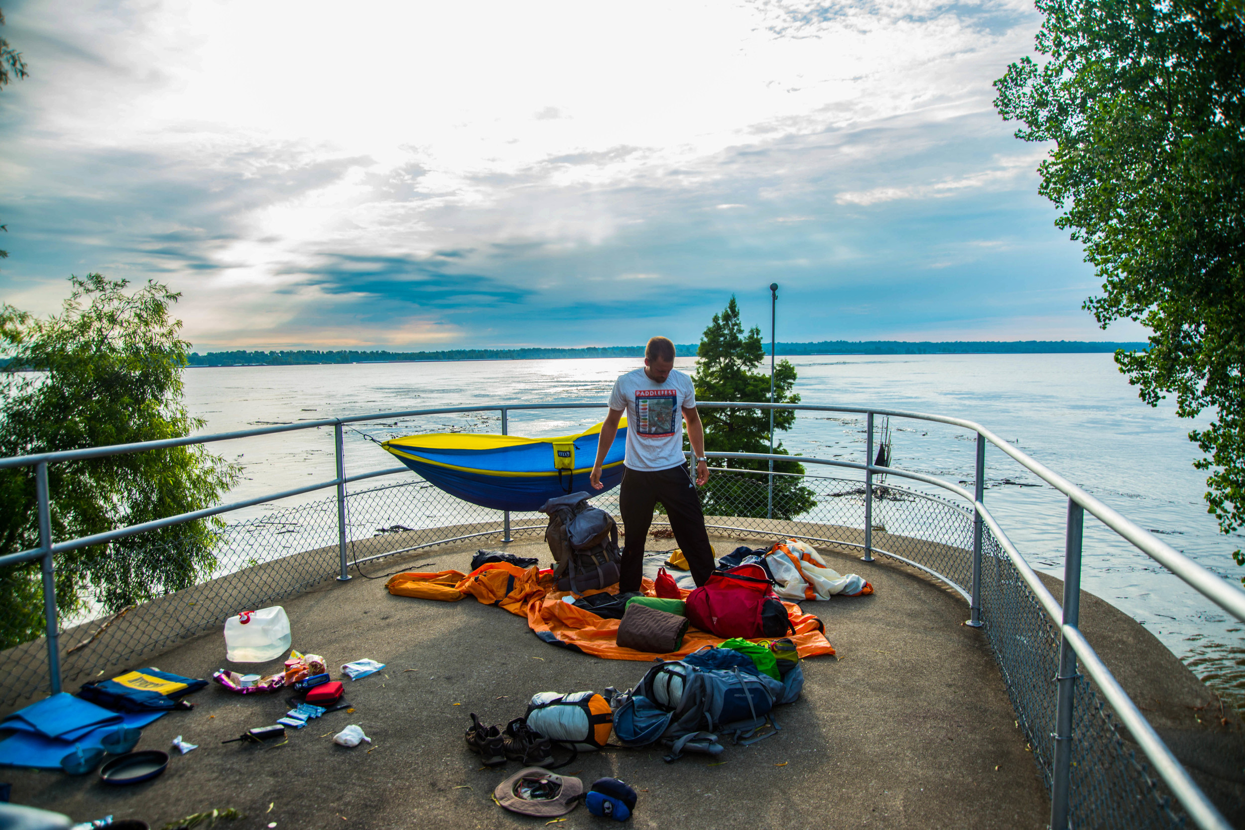 """The reverse view of the observation deck at the Mississippi/ Ohio confluence. This was one of the most interesting, and elevated, """"campsites"""" we had the fortune of discovering. Being able to stretch out, set up our hammocks and dry out our gear was quite enjoyable."""
