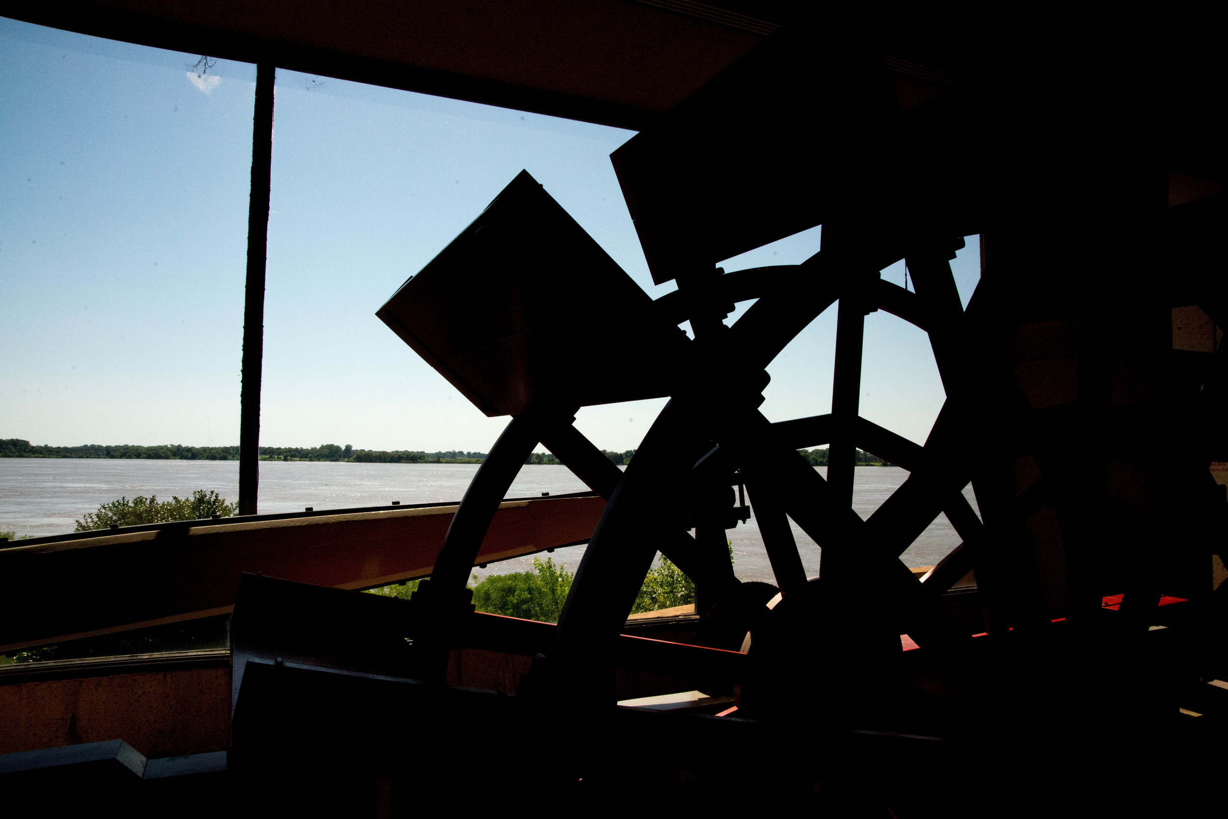 A retired paddle-wheel sits in the Mississippi River Museum located on Mud Island, outside of Memphis, TN.