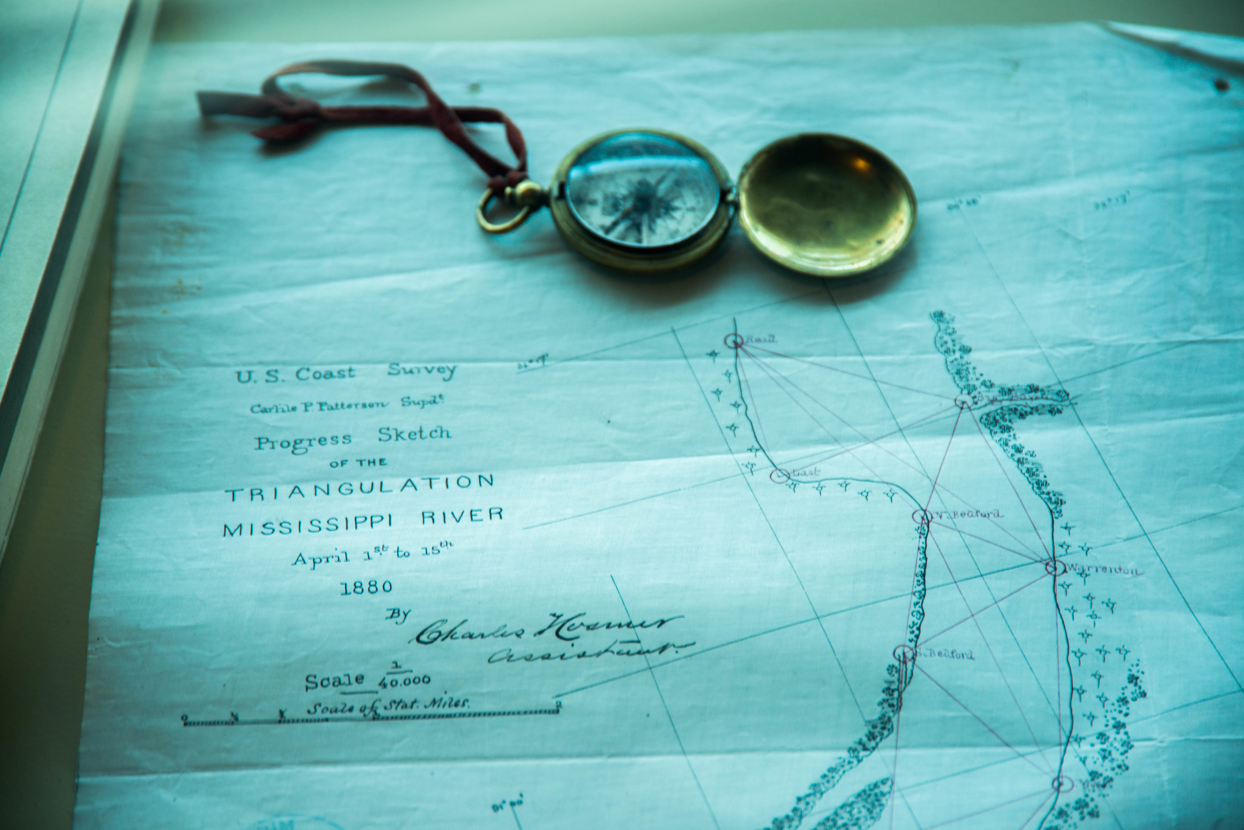 Old Army Corp. of Engineers river navigation map (from the 1800's) and an accompanying brass compass are displayed at the Lower Mississippi River Museum. An excellent stop to make along the river in the remarkable, historical town of Vicksburg, Mississippi.