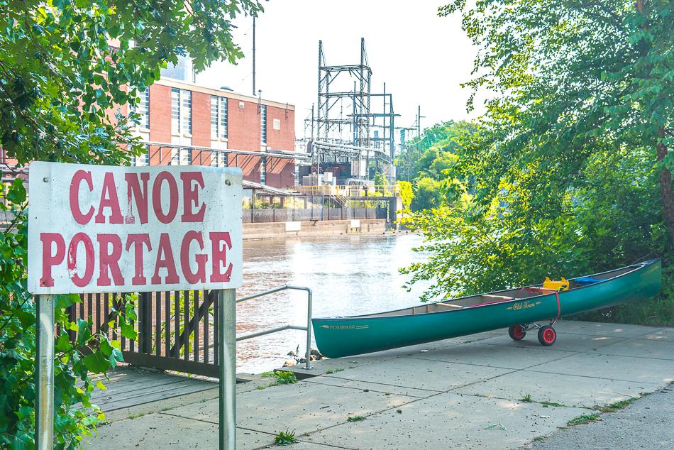 Canoe portage entrance in Lansing, Michigan.