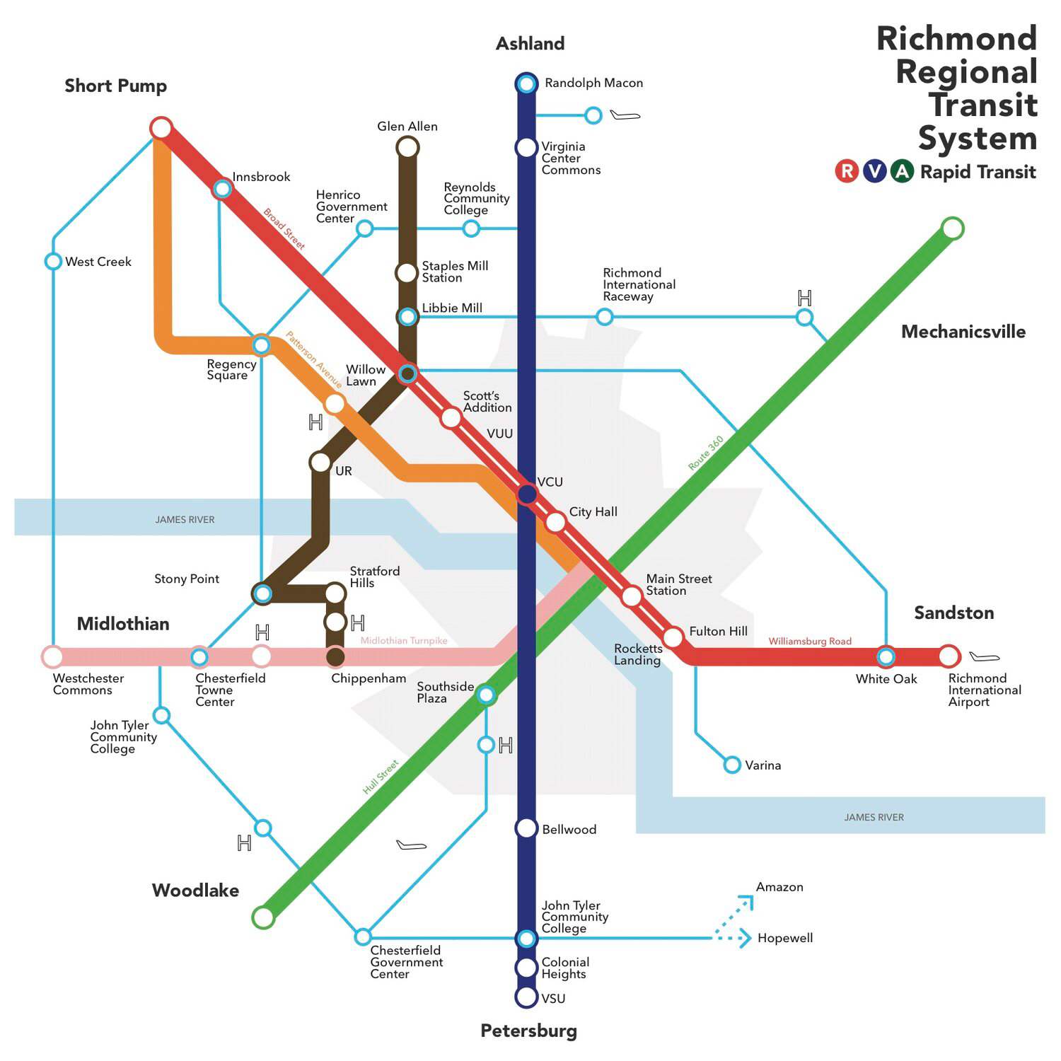 Map highlighting major transit corridors in the regionally approved  Greater RVA Transit Vision Plan  (PDF)