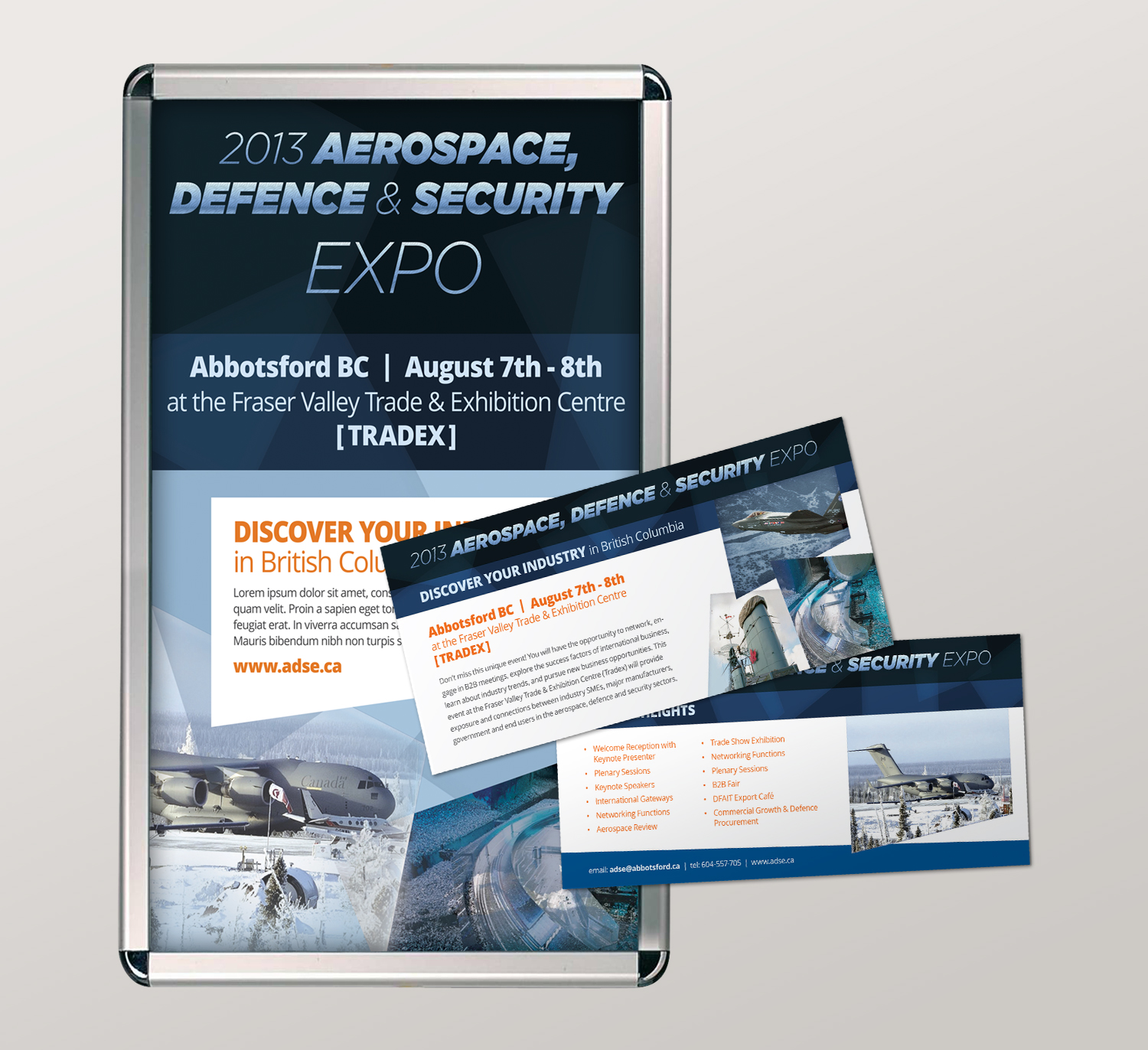 <strong>Aerospace Defence & Security Expo</strong> poster & rack card under Circle Graphics & Design