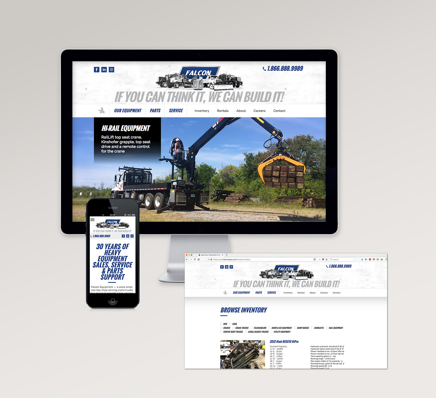 <strong>Falcon Equipment</strong> website designed under Circle Graphics & Design Abbotsford