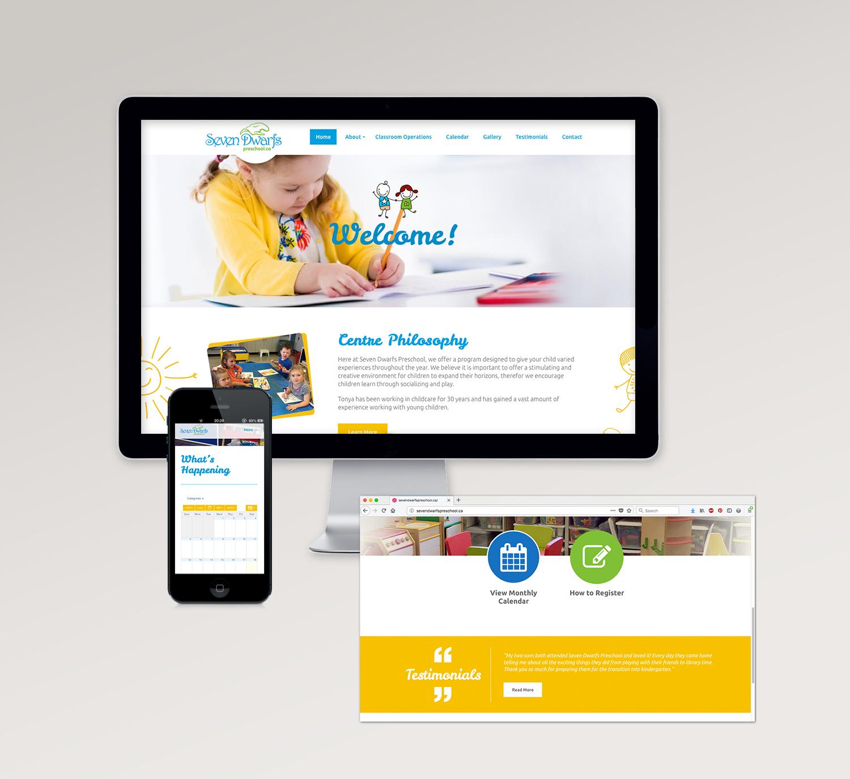 <strong>Seven Dwarfs Preschool</strong> website design