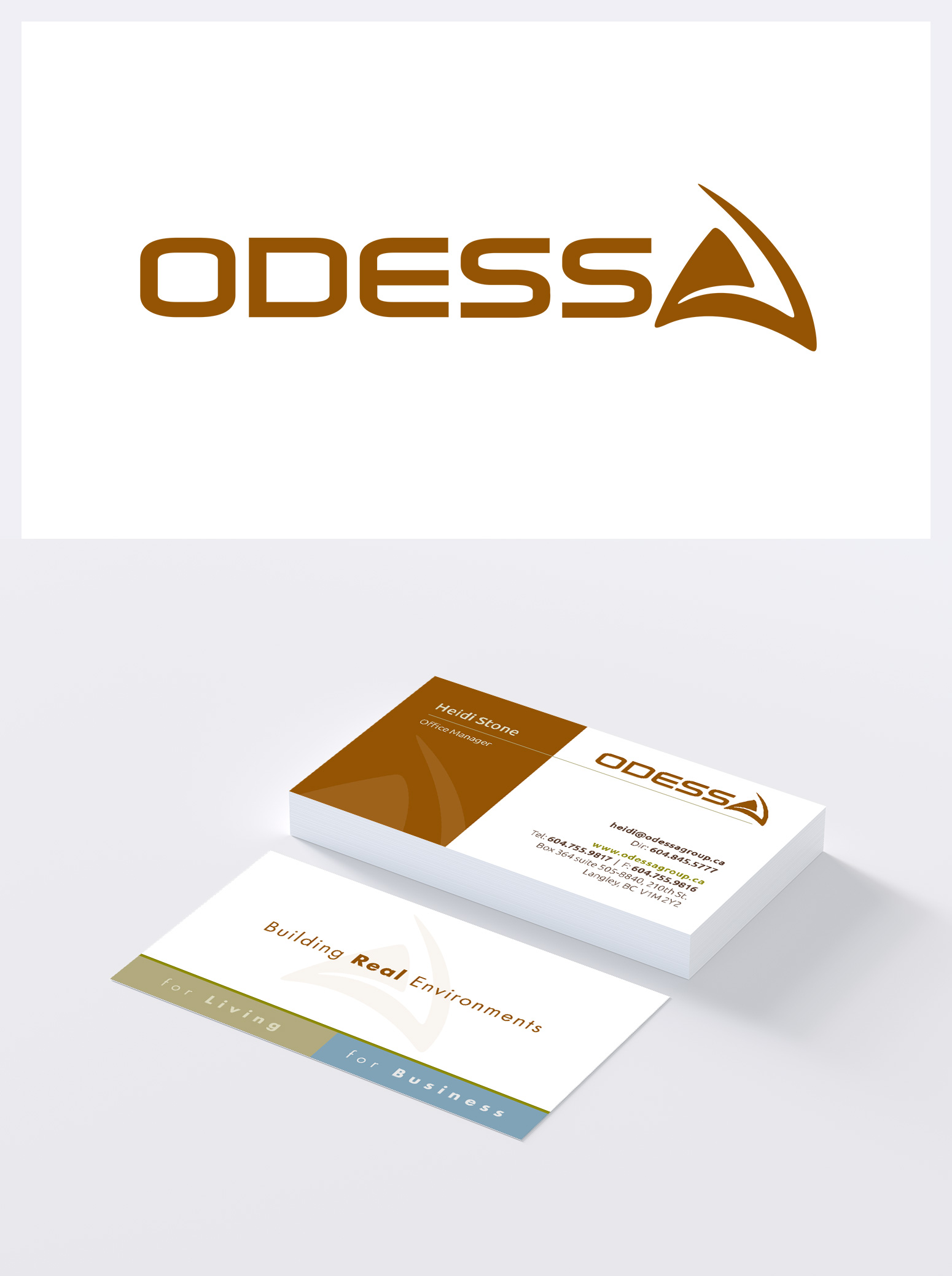 "Odessa Branding & Stationery Package : Logo, Business cards, Letterhead, and Envelope were designed to position this ""semi-custom"" home development company as solid yet warm with a sense of artistic flair."