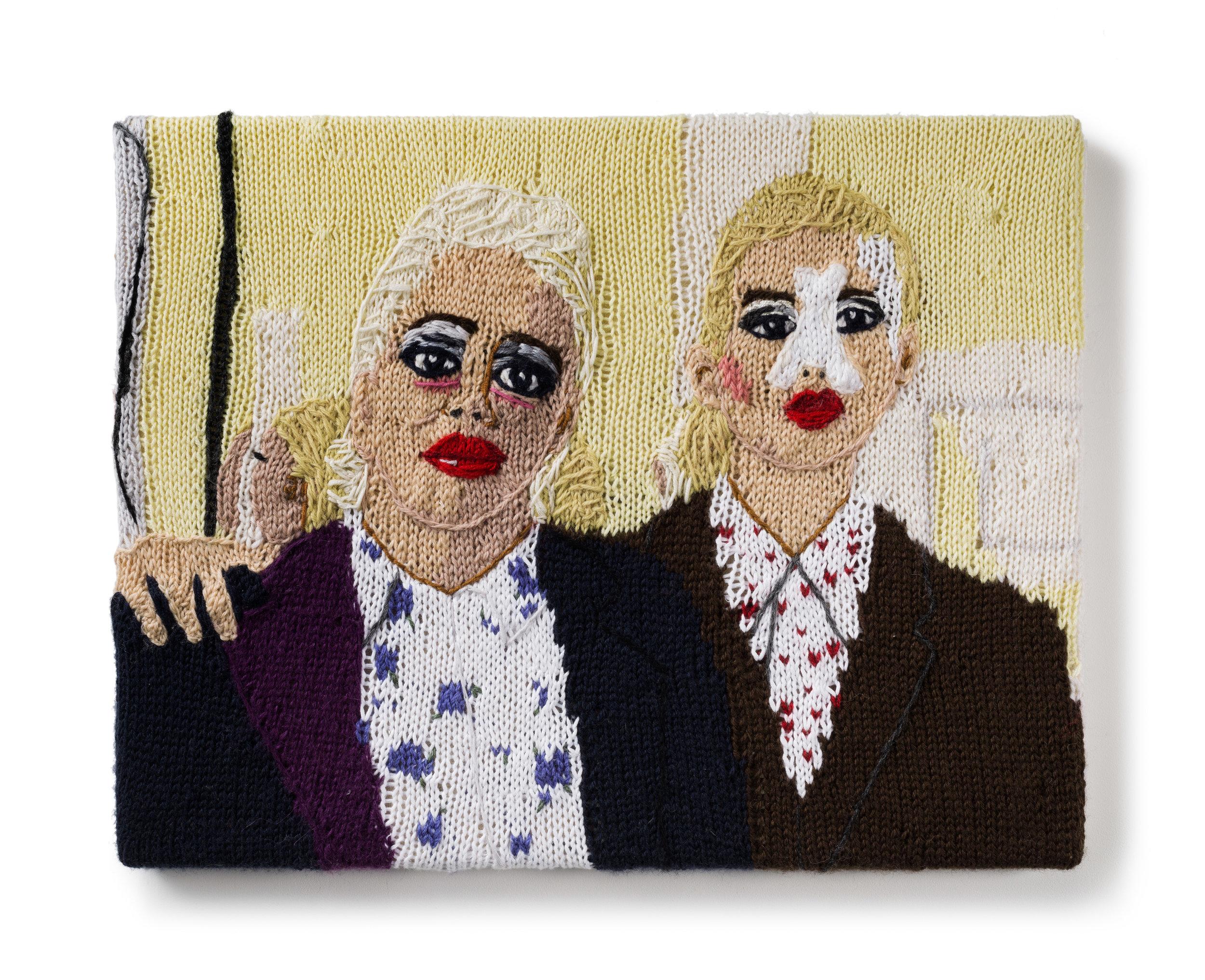 Kate Just, Feminist Fan #35 (Genesis Breyer P-Orridge and Lady Jaye Breyer P-Orridge, film still from The Bight of the Twin dir. Hazel Hill McCarthy III, 2014), 2017