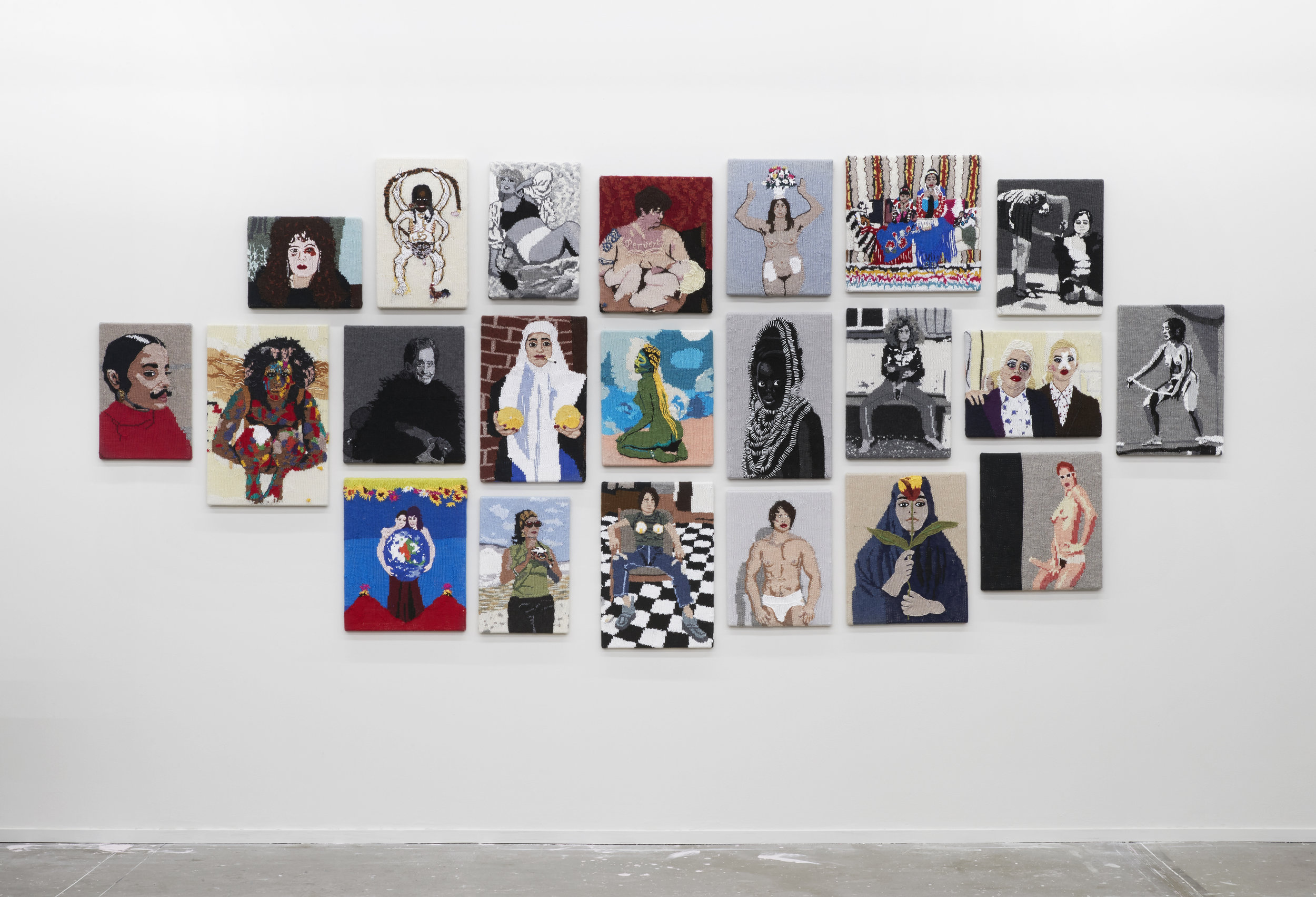 Installation view of Kate Just, Feminist Fan (selection), The Public Body .02, Artspace, Sydney, 2017