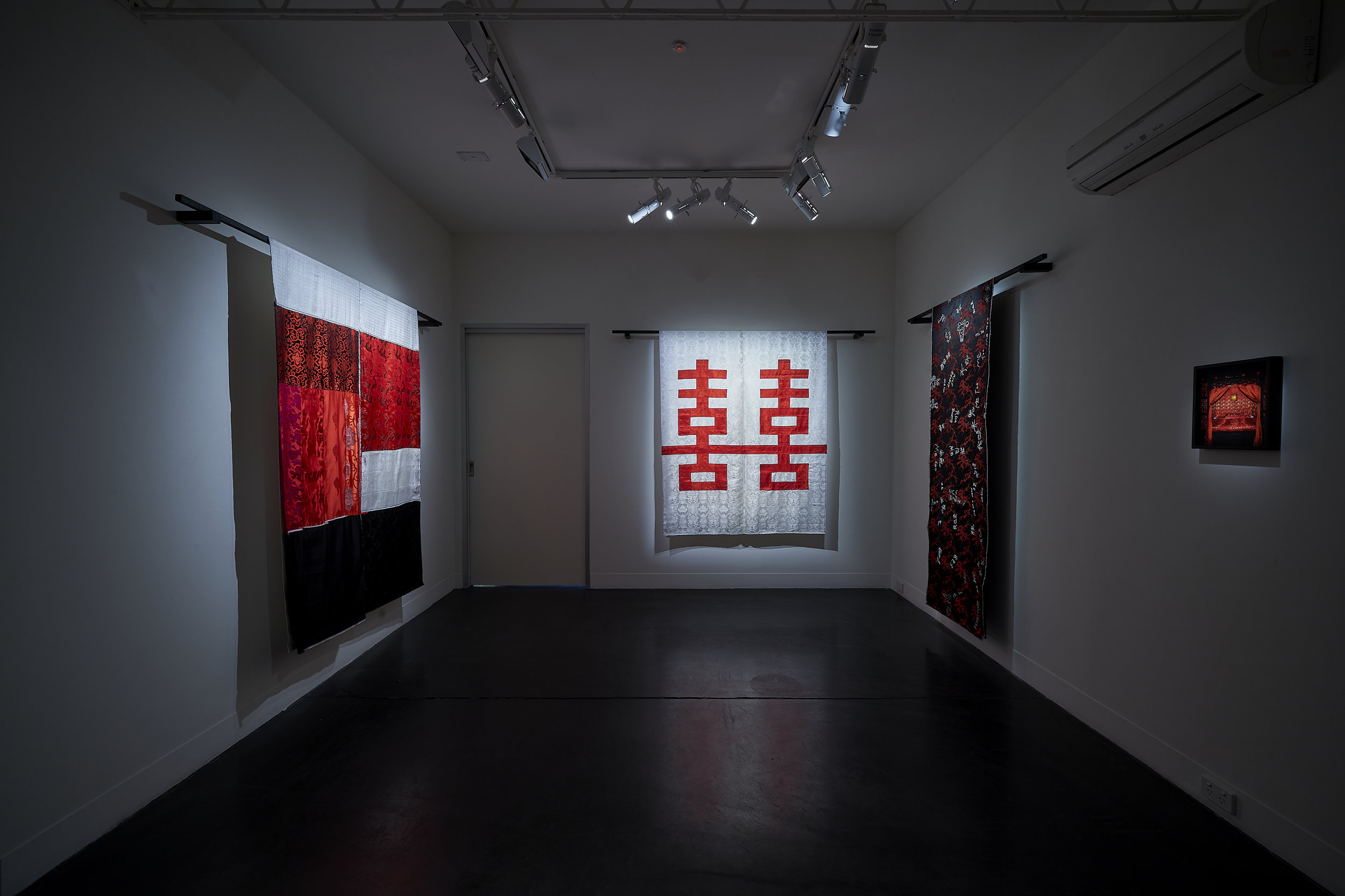 Kate Just, From China With Love, 2019 Hand stitched cotton, silk and synthetic fabrics, timber, type C photograph Dimensions variable Photo: Sam Roberts