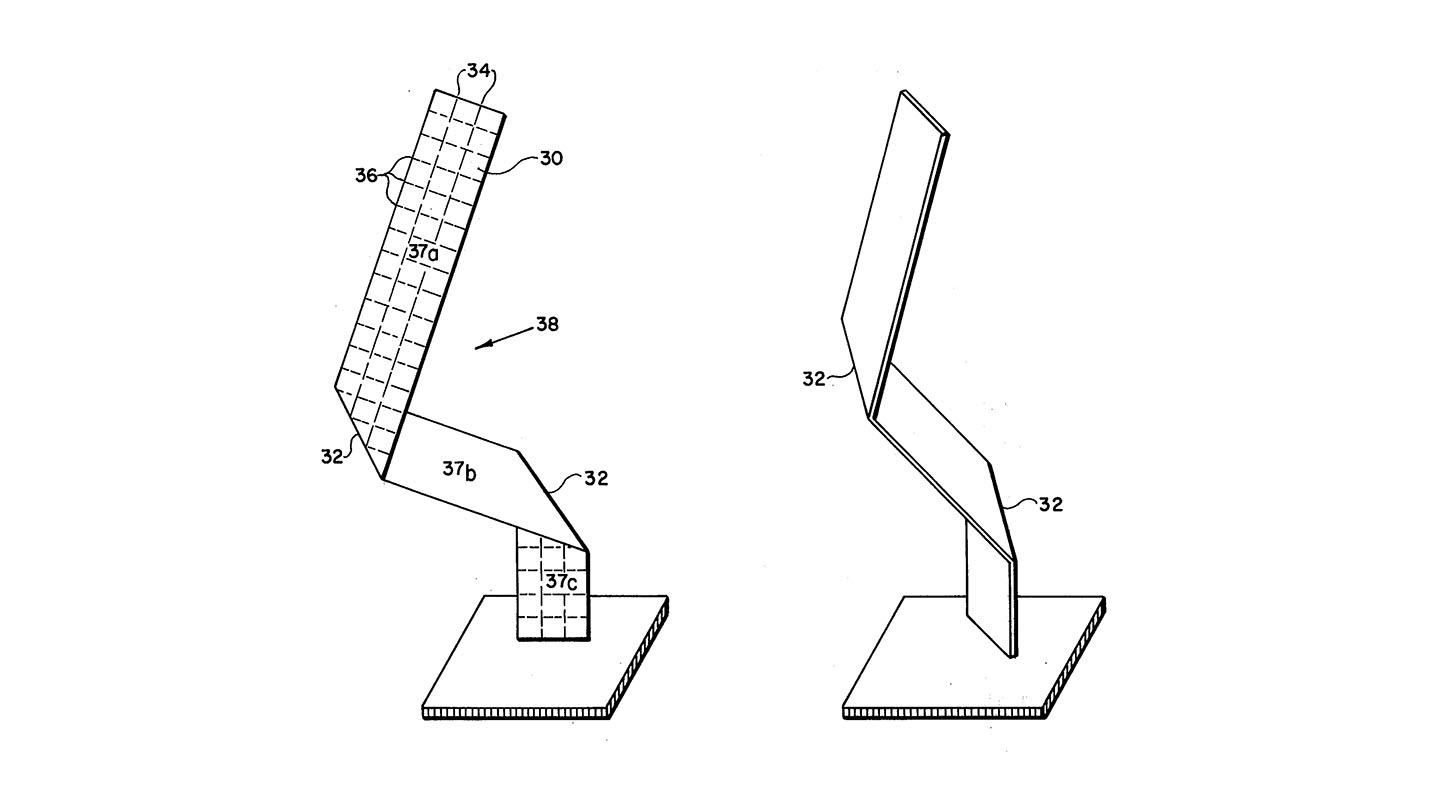 "Drawings for the methods and apparatuses for tufting, or otherwise making blades of synthetic grass appear less uniform, and therefore more natural, seem to dwell obsessively on the characteristics of individual blades. Here, a blade of grass is diagrammed and depicted as one might for a work of sculpture on a pedestal. (   U.S. Patent No. 4,061,804   , ""Non-Directional Rectangular Filaments and Products,"" Walter Graham McCulloch, issued December 6th, 1977)"