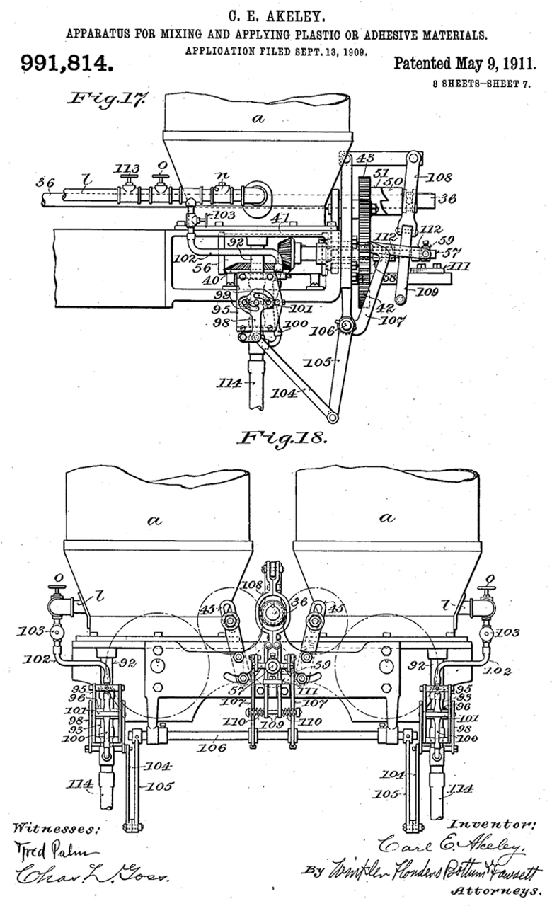 """Figure 3.   Carl Akeley, Patent Application for """"Apparatus for Mixing and Applying Plastic or Adhesive Materials."""""""