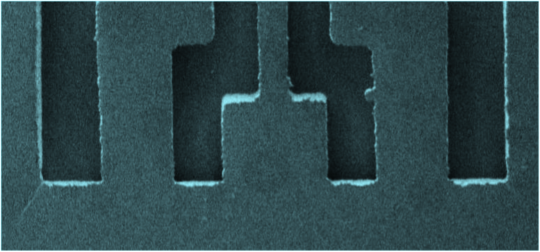 Micron scale micro-formed air channels of basic micro-blower.