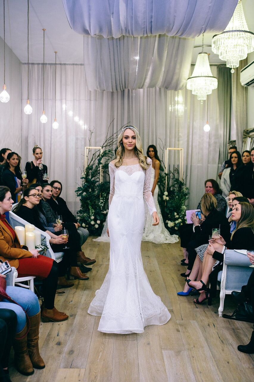 Media and guests were treated to the very first glimpses of the  Ceremony collection, which saw models adorned with sparkling headpieces, hand-embellished gowns and the inaugural range of Anna Campbell earrings.