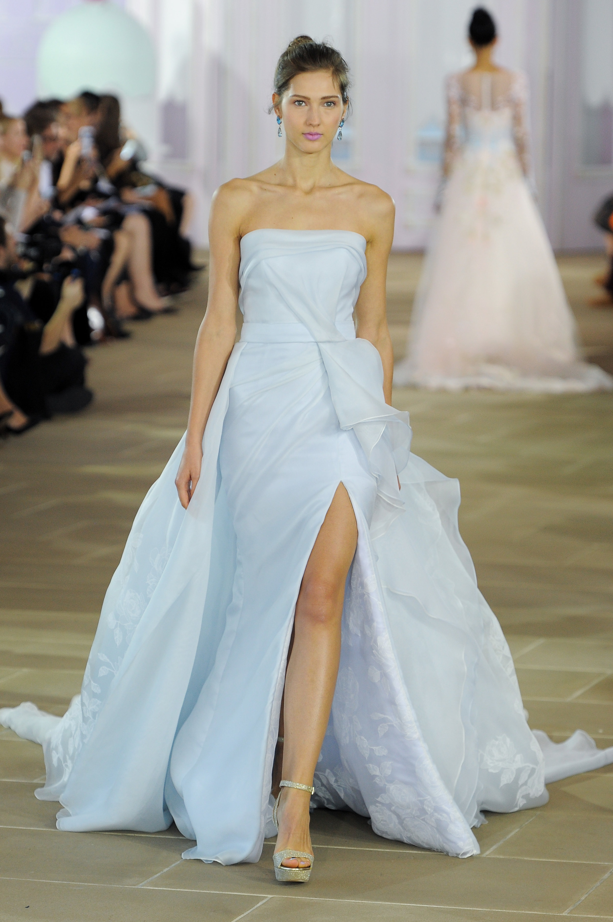 'Azure' - Asymmetrical column with drape detail at waist and painted floral organza.