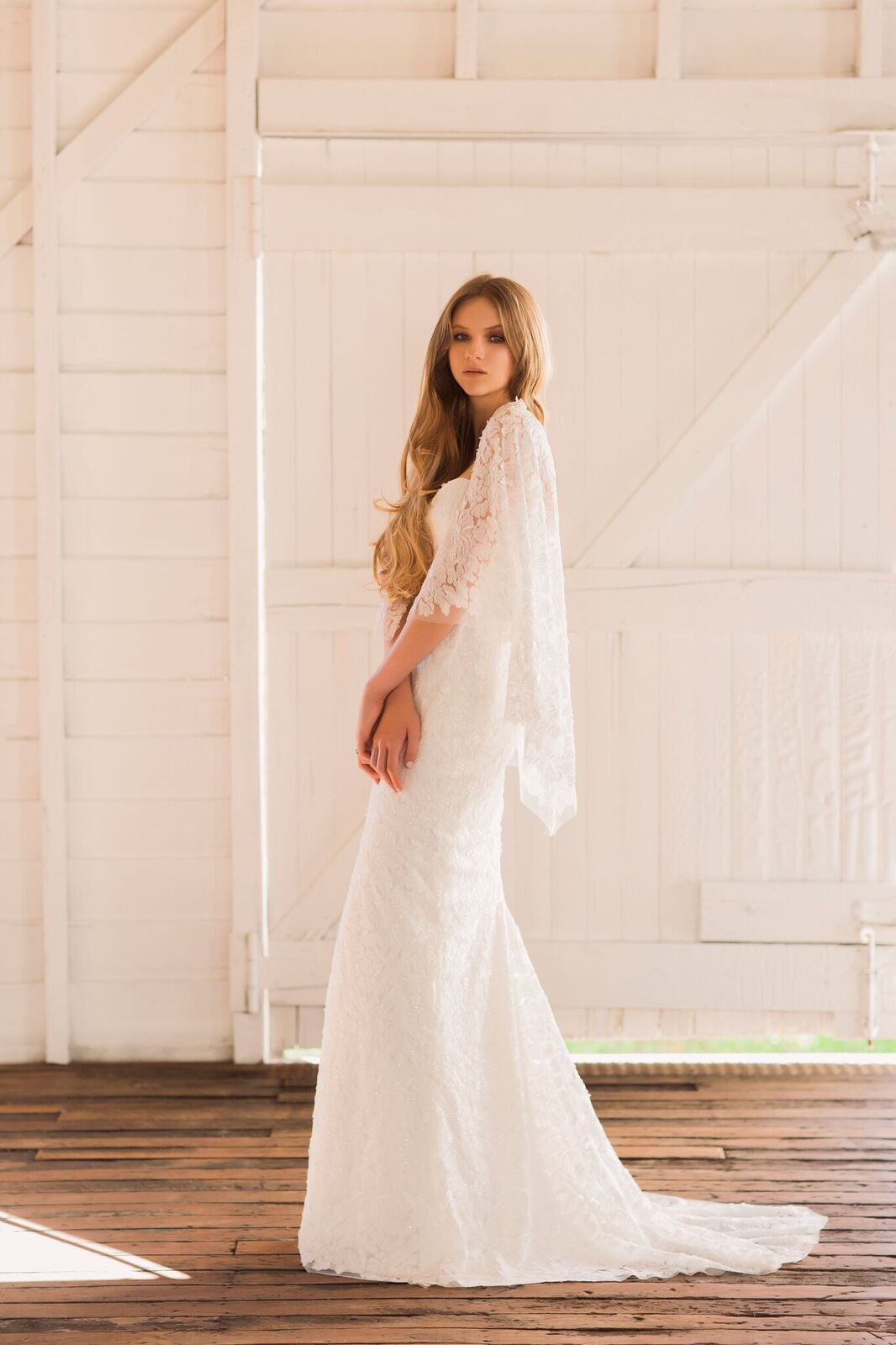 'Gwen' -  strapless sheath gown with ivory embroidered tulle overlay long train and detachable cape.
