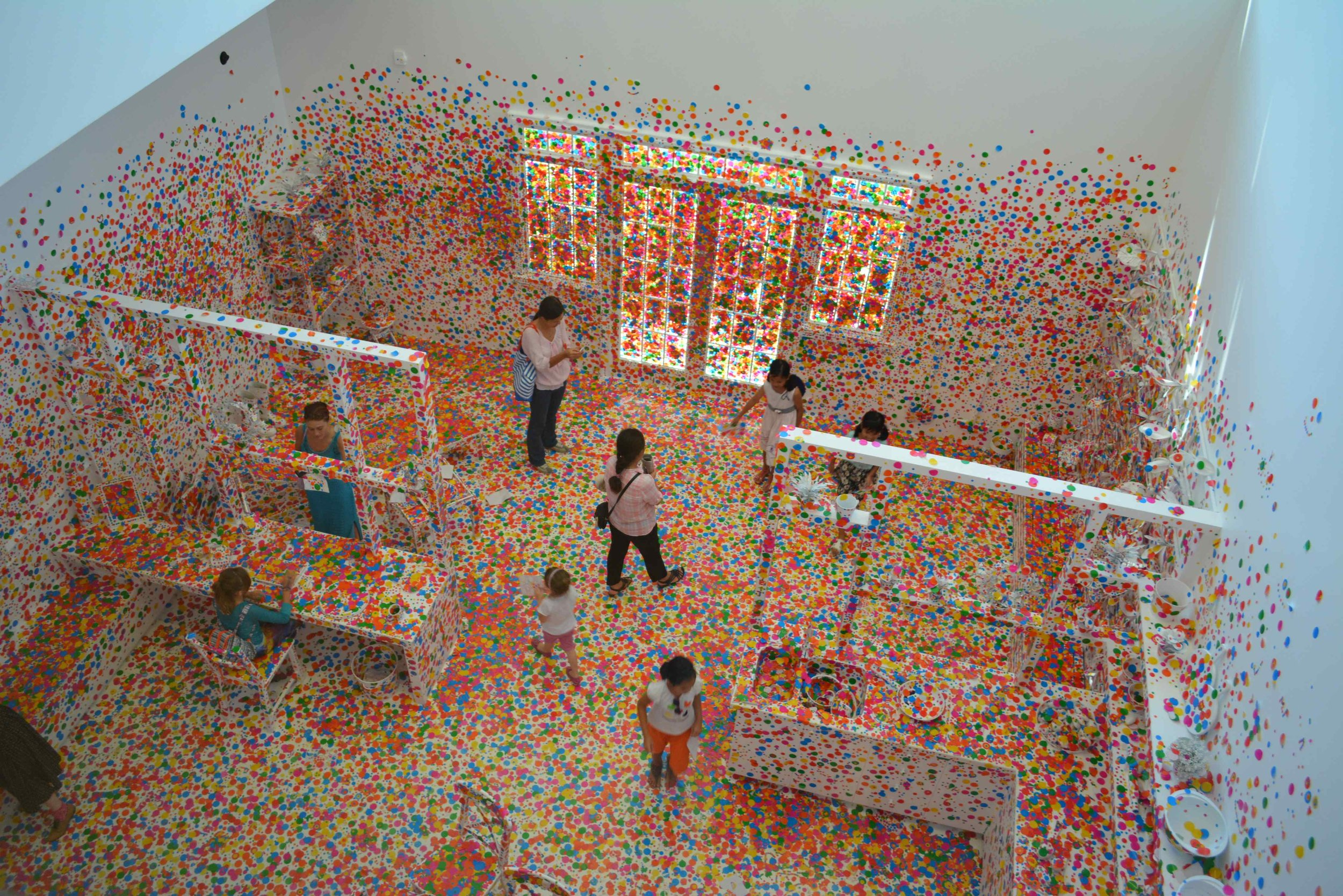 Pictured: Exhibition by Yayoi Kusama­ 'The Obliteration Room' at GOMA Brisbane