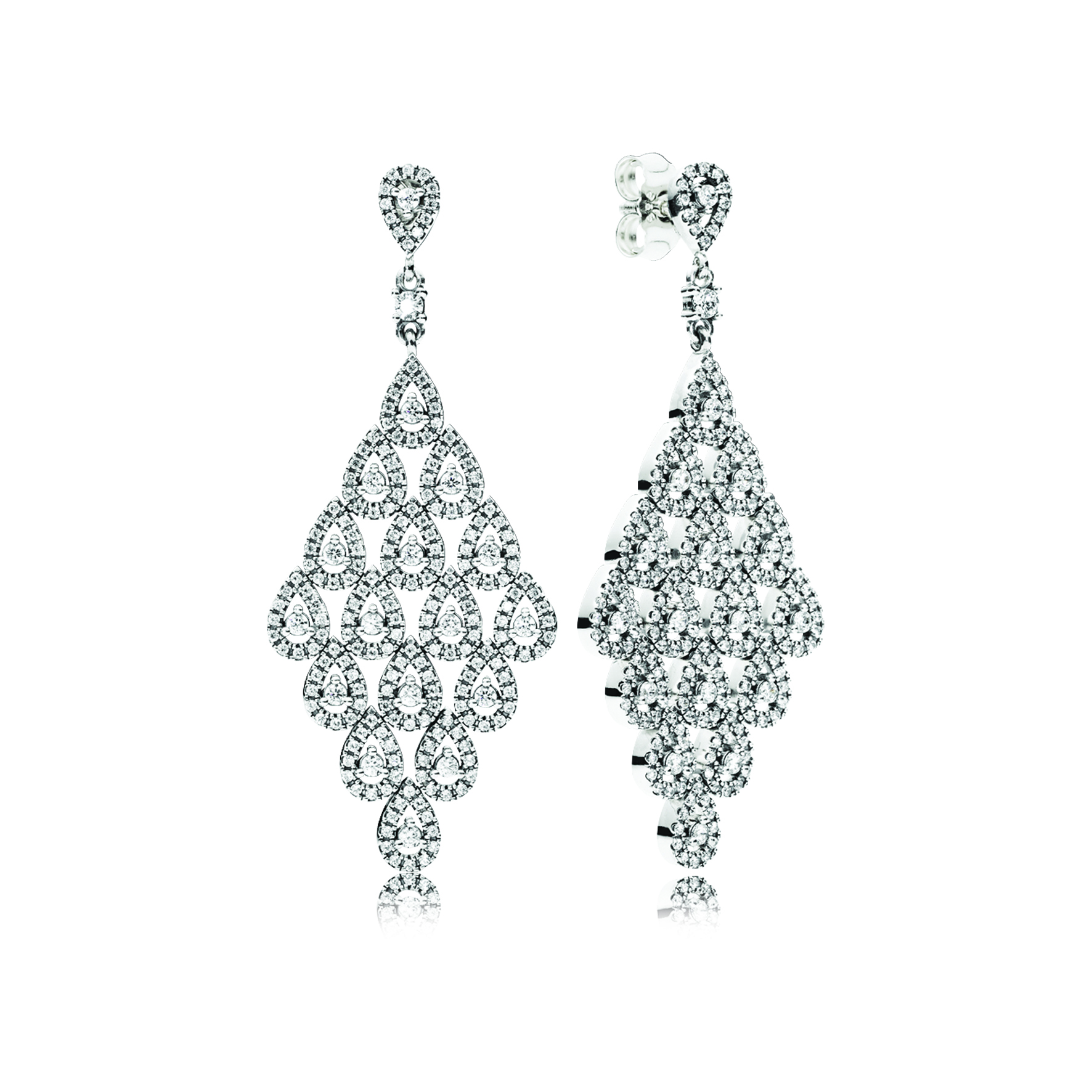 PANDORA Sterling Silver and Cubic Zirconia Cascading Glamour Large Hanging Earrings