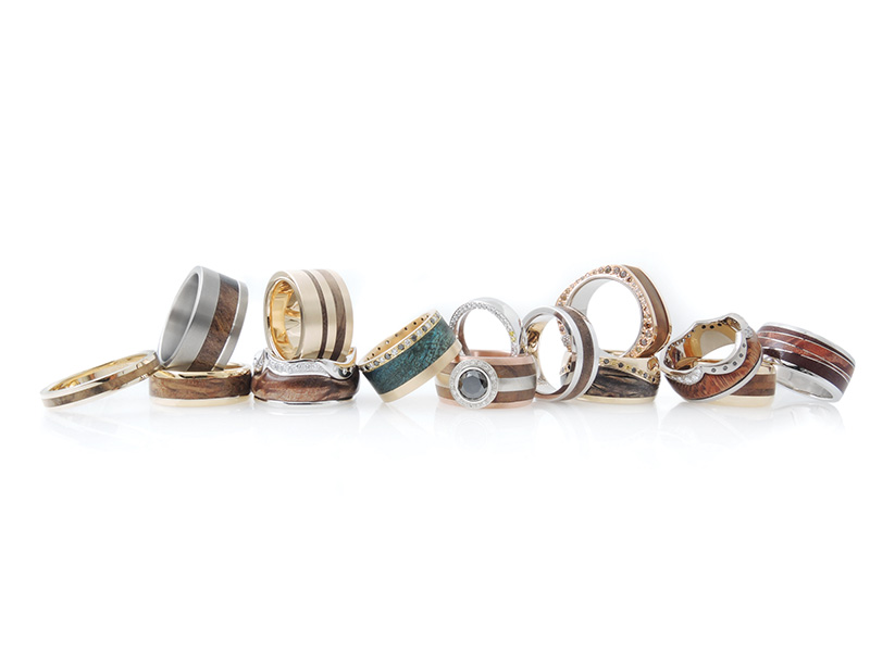 JWG Wooden rings set in differnt metals, diamonds and gemstones .jpg