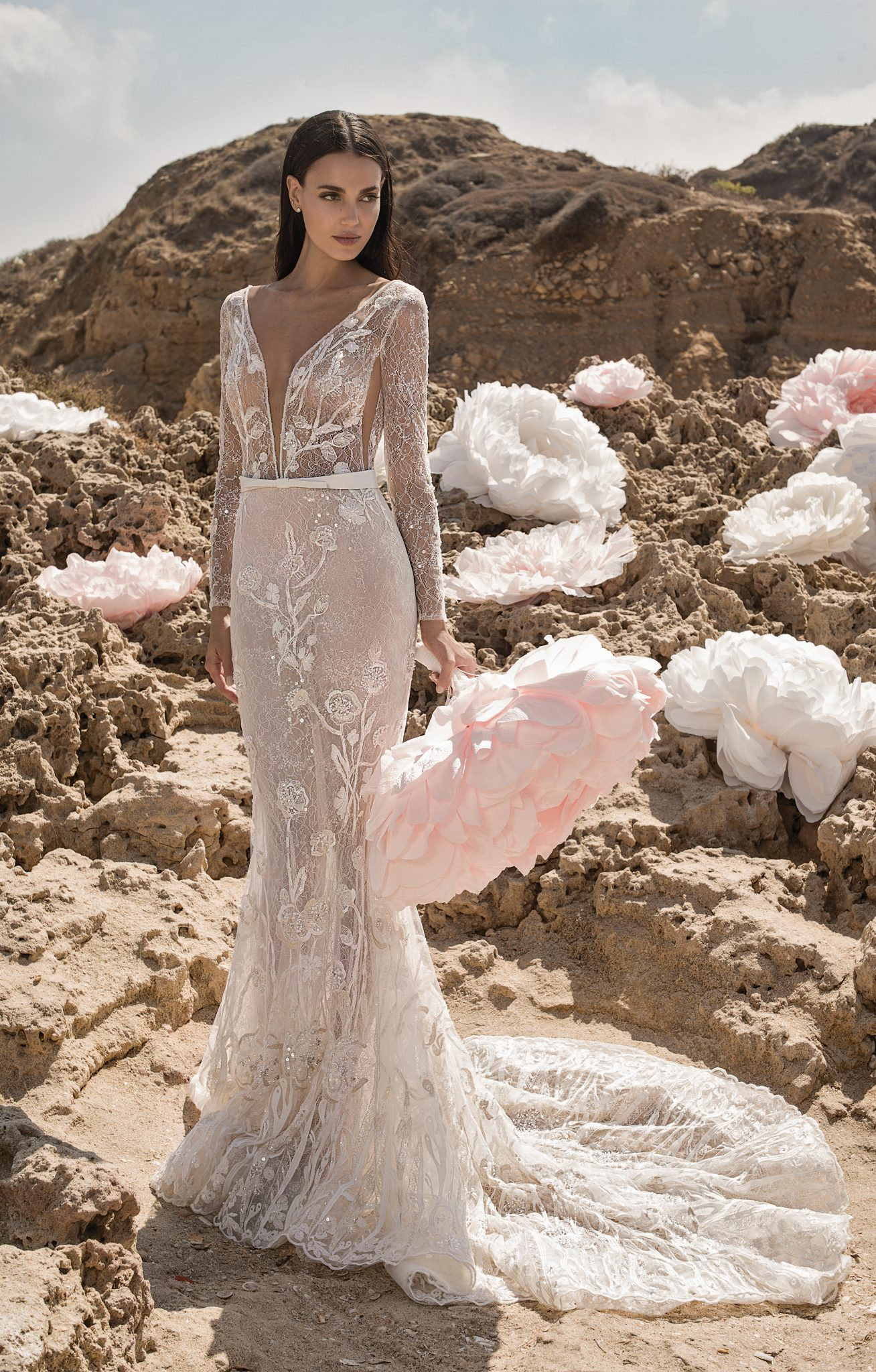 PEONY Embellished long sleeve deep V-neck mermaid gown with beaded floral appliqués and French lace underlay