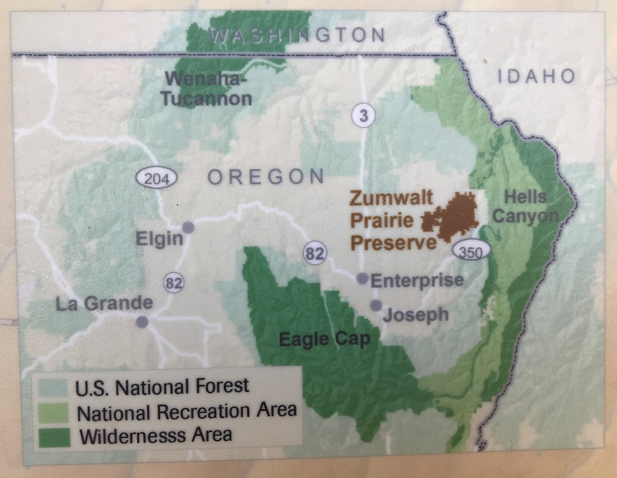 Zumwalt Prairie Preserve's large 51 square miles in far NE Oregon.  Note proximity to LaGrande, Enterprise, and the Hells Canyon National Recreation Area.