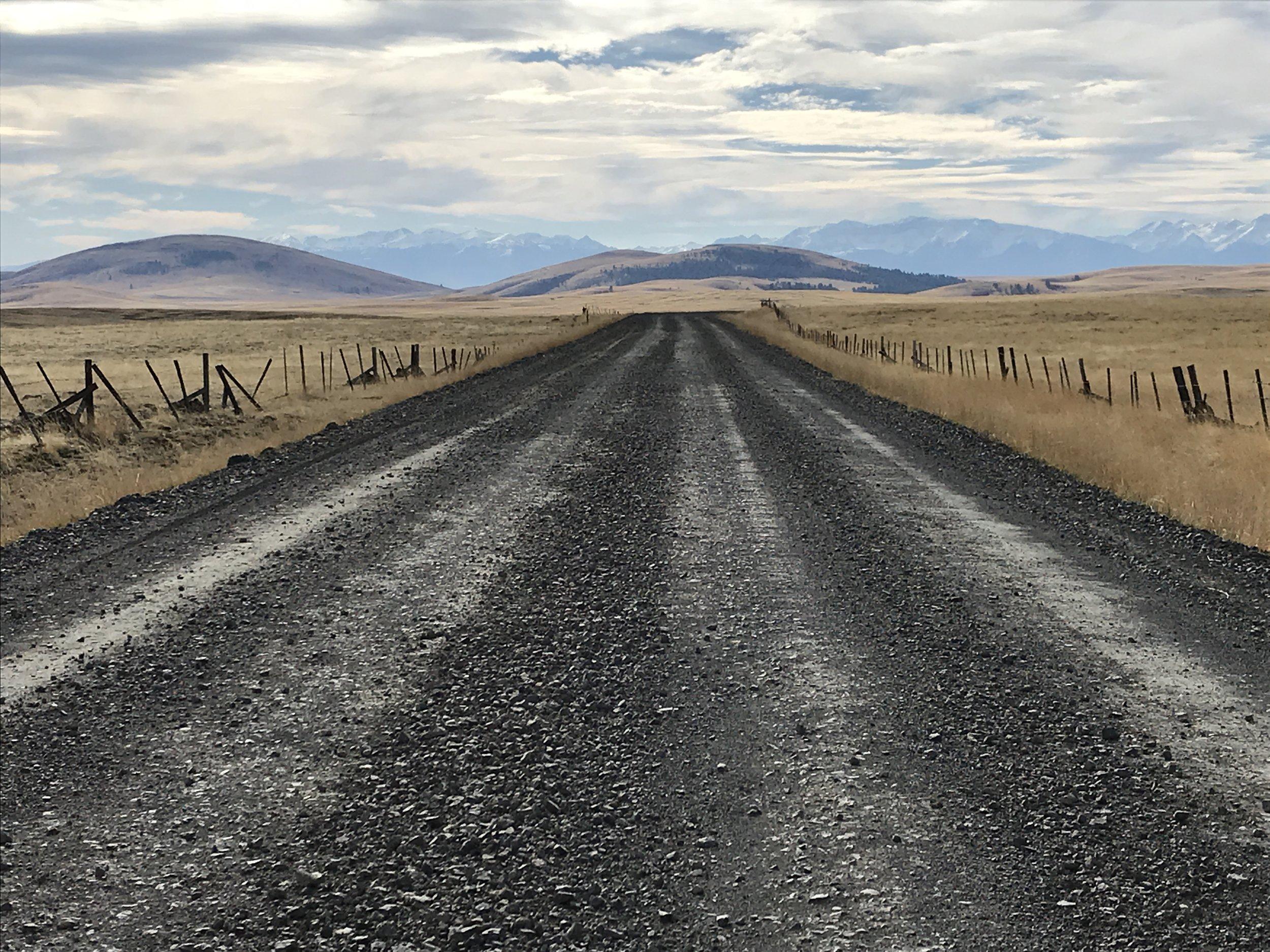 Zumwalt-Buckhorn Road (aka Zumwalt Road), the Findley Buttes of Zumwalt Preserve, and the Wallowa Mountains.