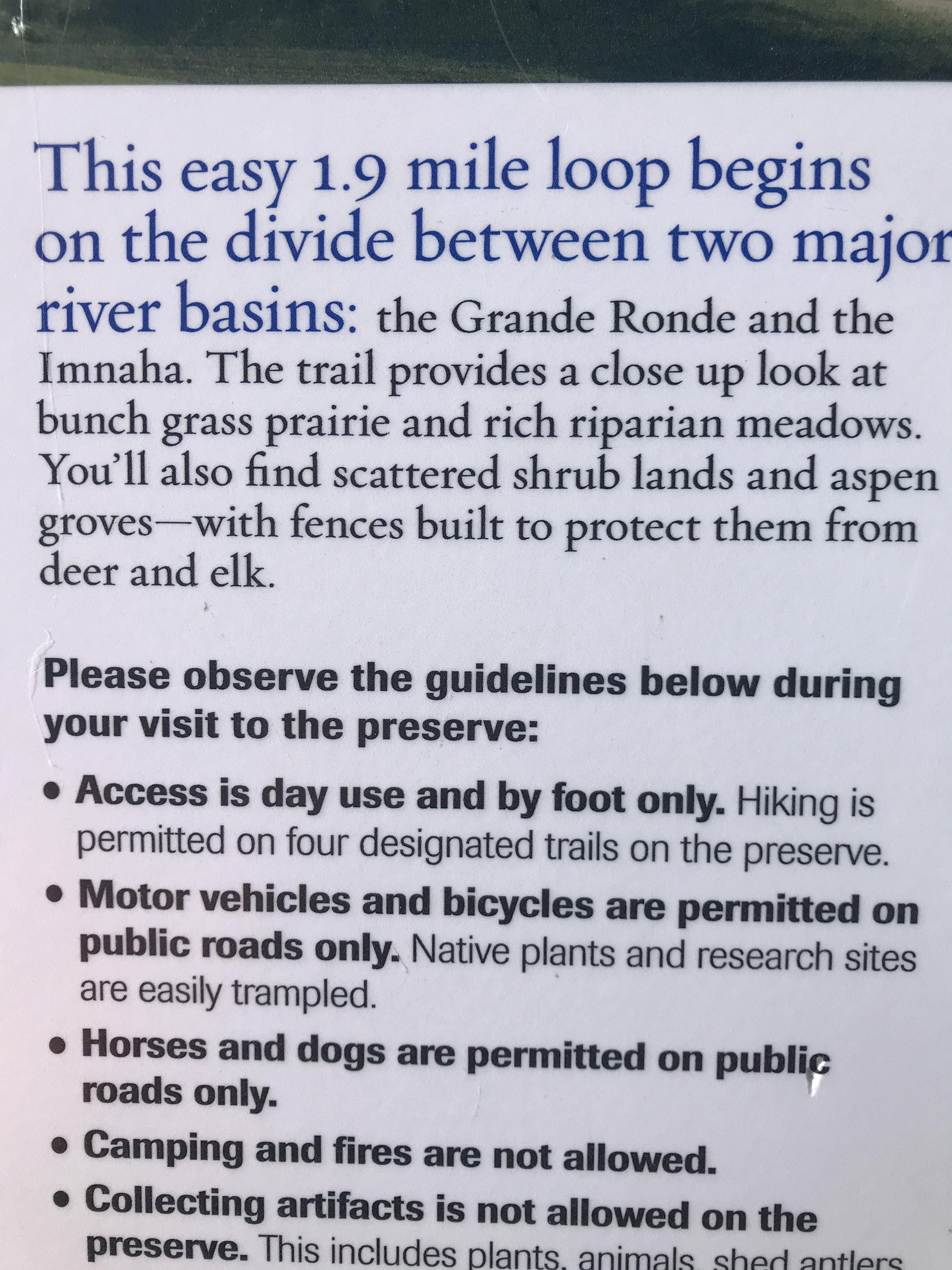 Noted:  1)  No dogs (ground-nesting birds, extreme sensitivity to disturbance).  2)  Day use only. And  3) how cool that this is the high divide between the huge Grande Ronde and Imnaha watersheds. Meaning, this is a high, expansive plain like a terrace above the major canyons you can't see, but can feel, nearby.