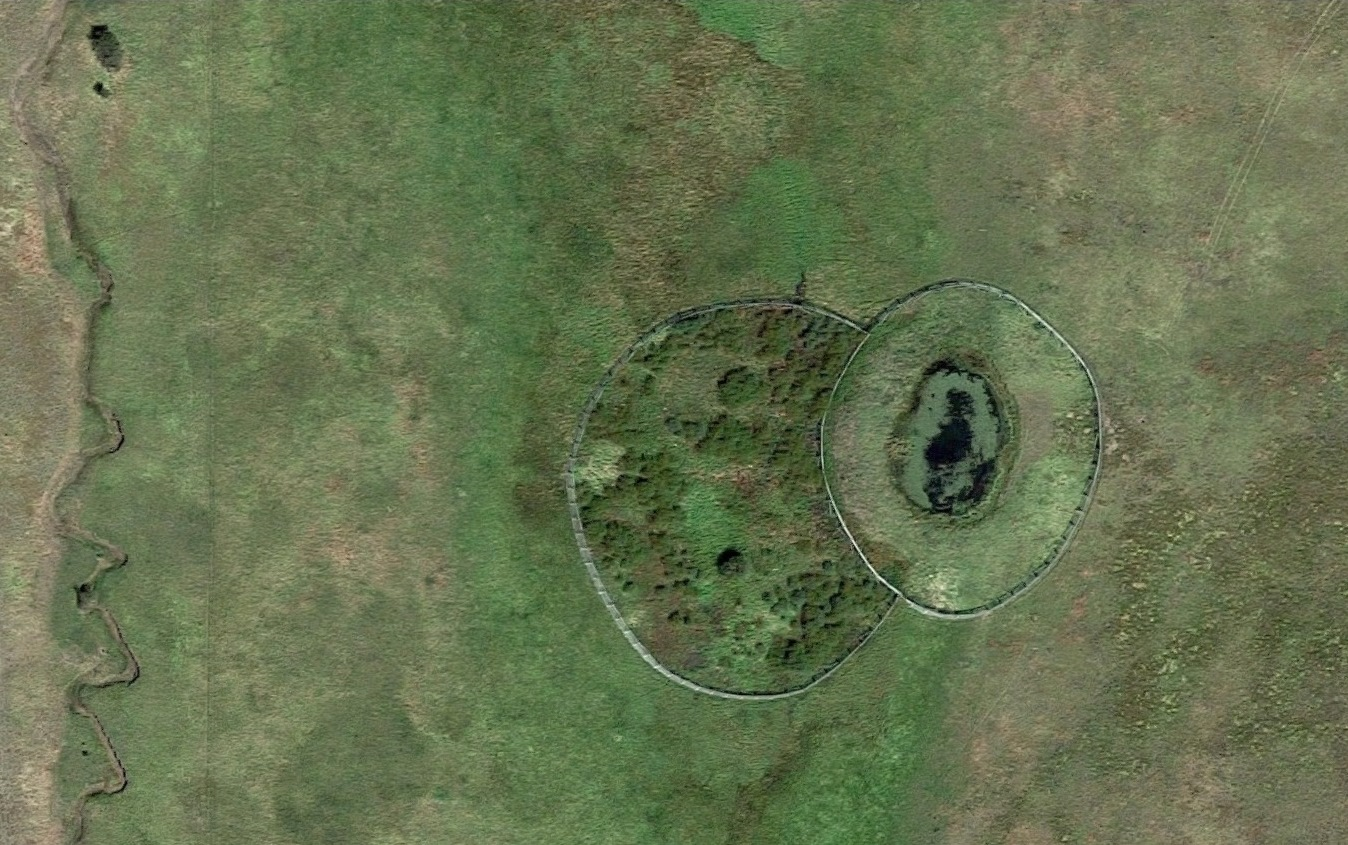 Google aerial image (springtime view) of the circular pond. Pine creek at left. The trail drops in from upper right.