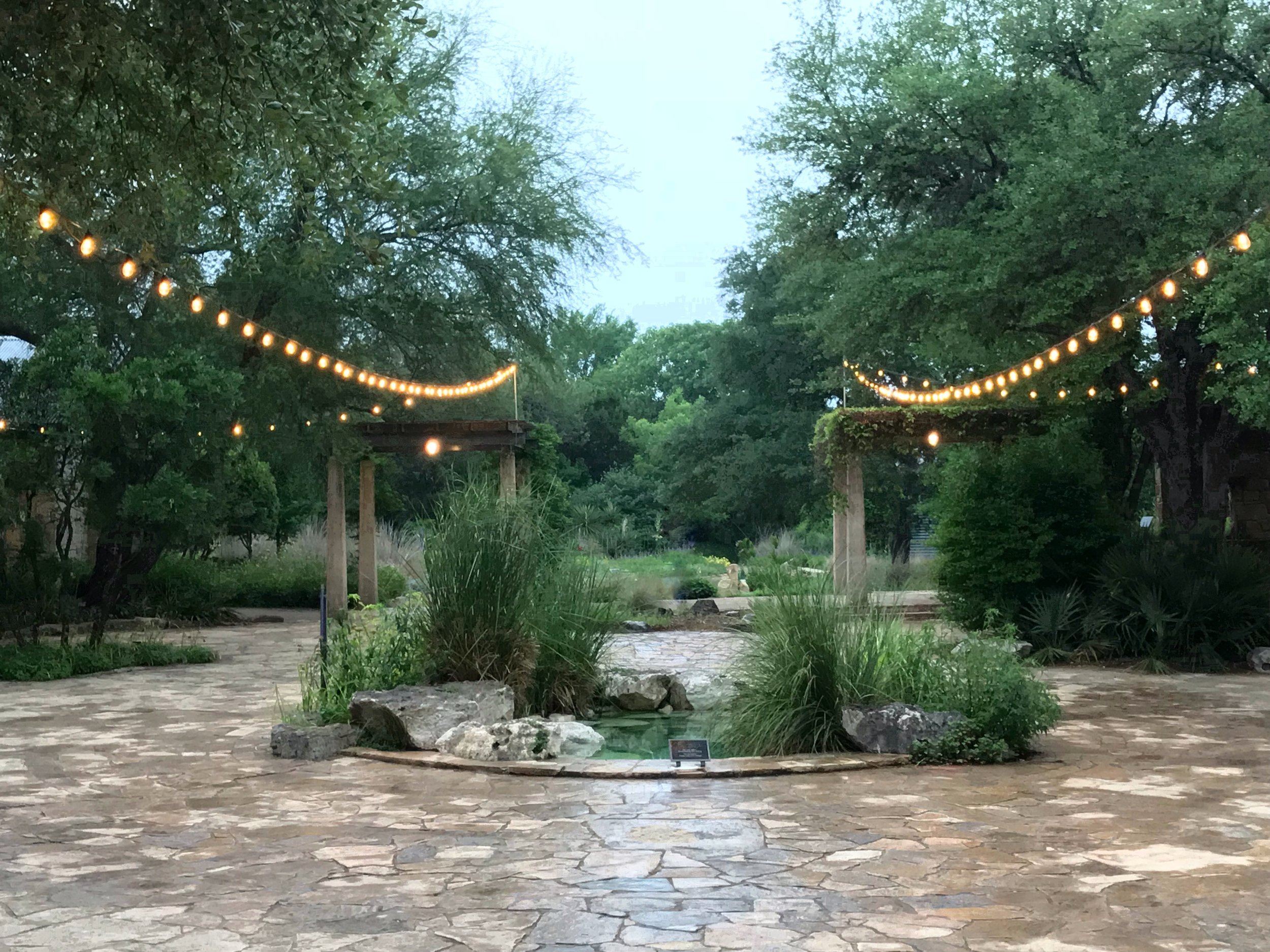 "Central courtyard and the ""Courtyard Spring"" water feature, Lady Bird Johnson Wildflower Center, on deluge day."