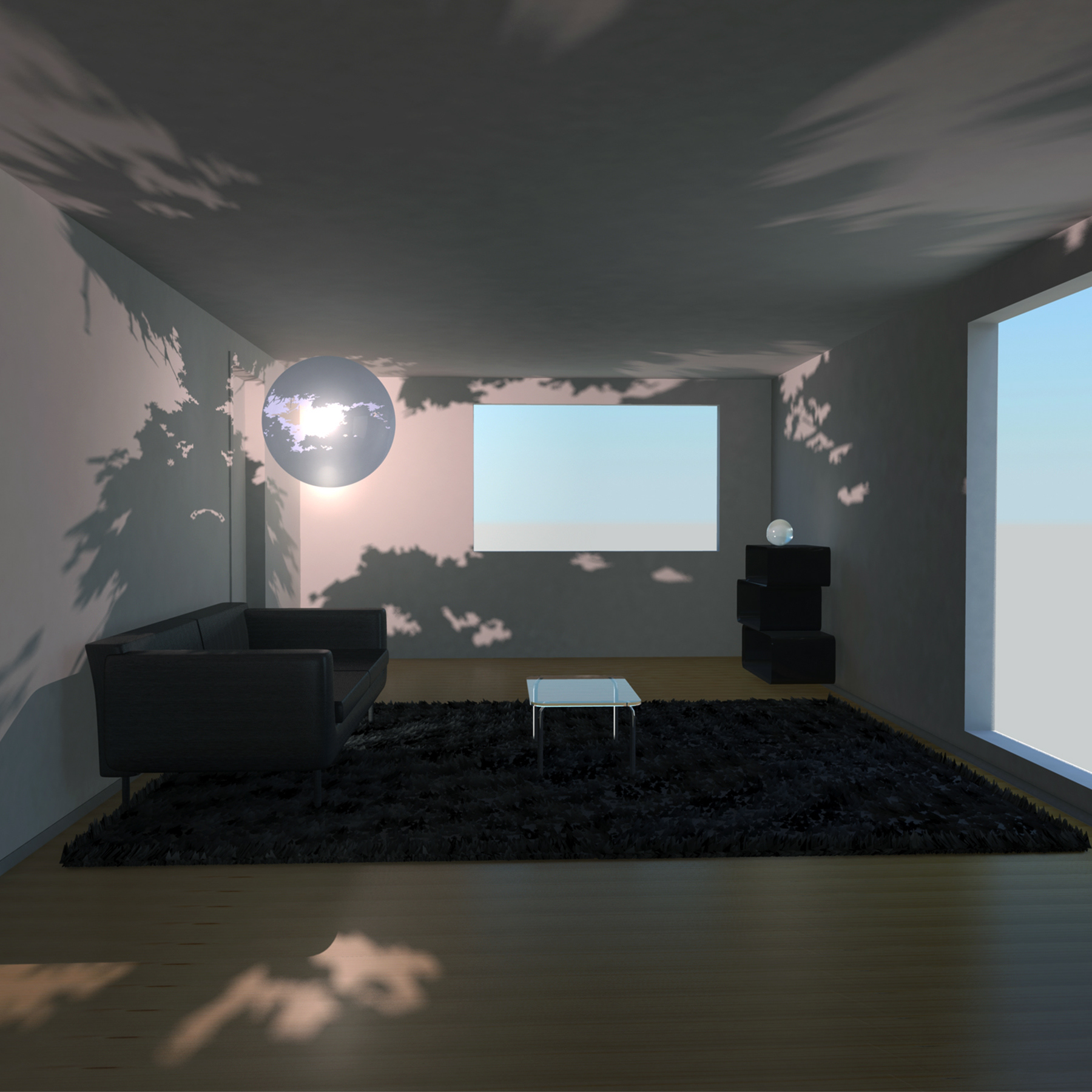 Living room with lamp mockup
