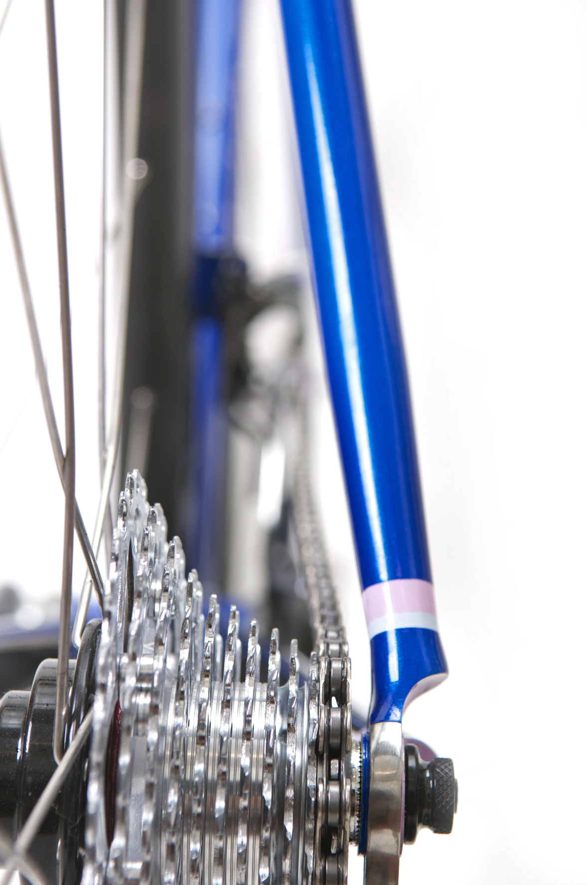 Peters Bespoke Road Bike Seat stays and painted in house in metallic cobalt blue with pale pink and blue detailing