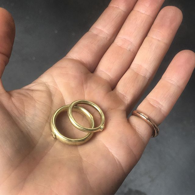 Finishing off a couple of bike customers wedding bands! You don't have to order wedding bands with you frame but it's nice when customers do! These were hand carved and recast from their own heirloom gold.