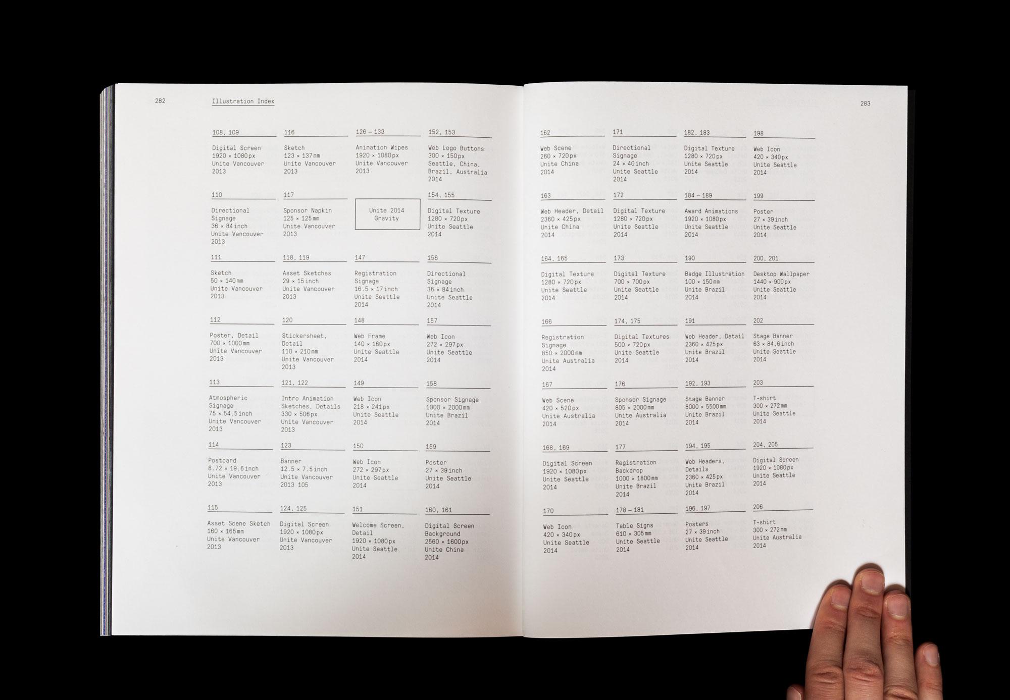 """Tools to Unite   de Studio Moniker kümmerte sich 4 Jahre lang um die visuelle Identität von Unite, einer weltweiten Entwickler Konferenz von Unity. Anstatt stur eine statische Identität umzusetzen entwickelte Moniker jedes Jahr ein neues interaktives Design-Tool, das die unendlichen Möglichkeiten der Unity Software reflektiert.Das Buch «Tools to Unite» macht erstmals die Konzepte und wunderbaren Ergebnisse dieser vier Design-Tools zugänglich.    en  Studio Moniker took for 4 years care of the graphic identity of Unite, a worldwide developer conference of Unity. Instead of applying a static identity rigidly they developed   each year a brand new interactive design tool to reflect the endless creative possibilities of the Unity software. The book """"Tools to Unite"""" shows the concepts and the wonderful output of these tools.   2016   Format:20.95 cm x 27.3 cm   Client:  Unity    Concept:  Moniker    Graphic design:  Moniker  ( Tereza Ruller  and Philip Bührer)    Texts: David Helgason,  Moniker    Proofreading: Philip Baber   Image editing:  Daniël Maarleveld"""