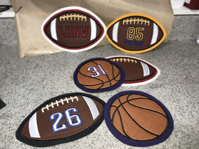Real Football material in the Football patches.  Real Basketball Patches.