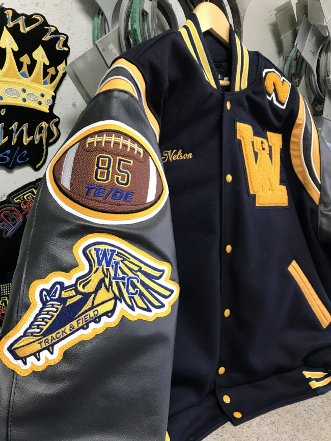Sweet Football patches with real football material, we made the whole coat, not just the patches.