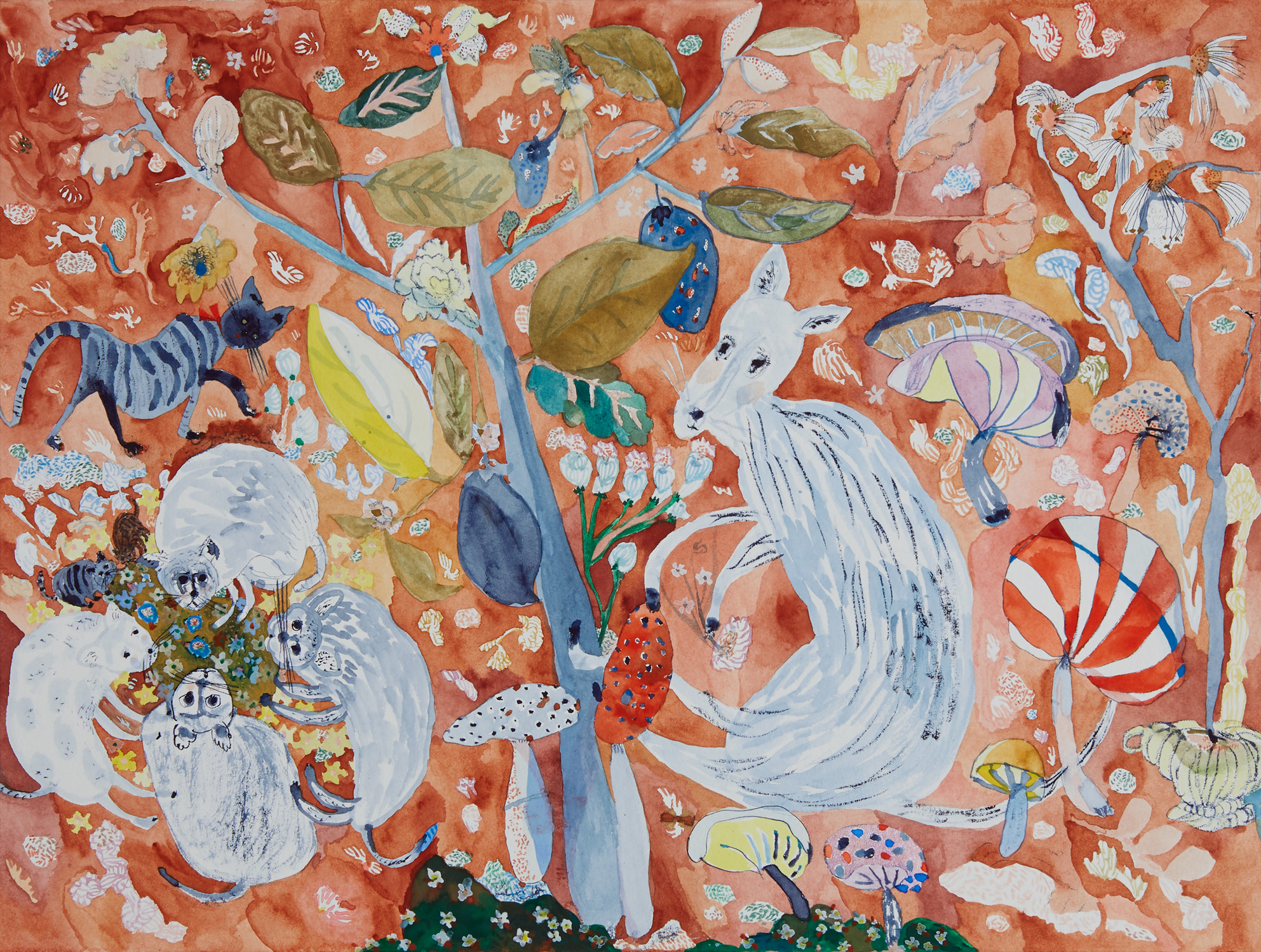 "Amongst the mushrooms   Watercolor, gouache and color pencil on paper, 2019  12"" x 16""  Sold"