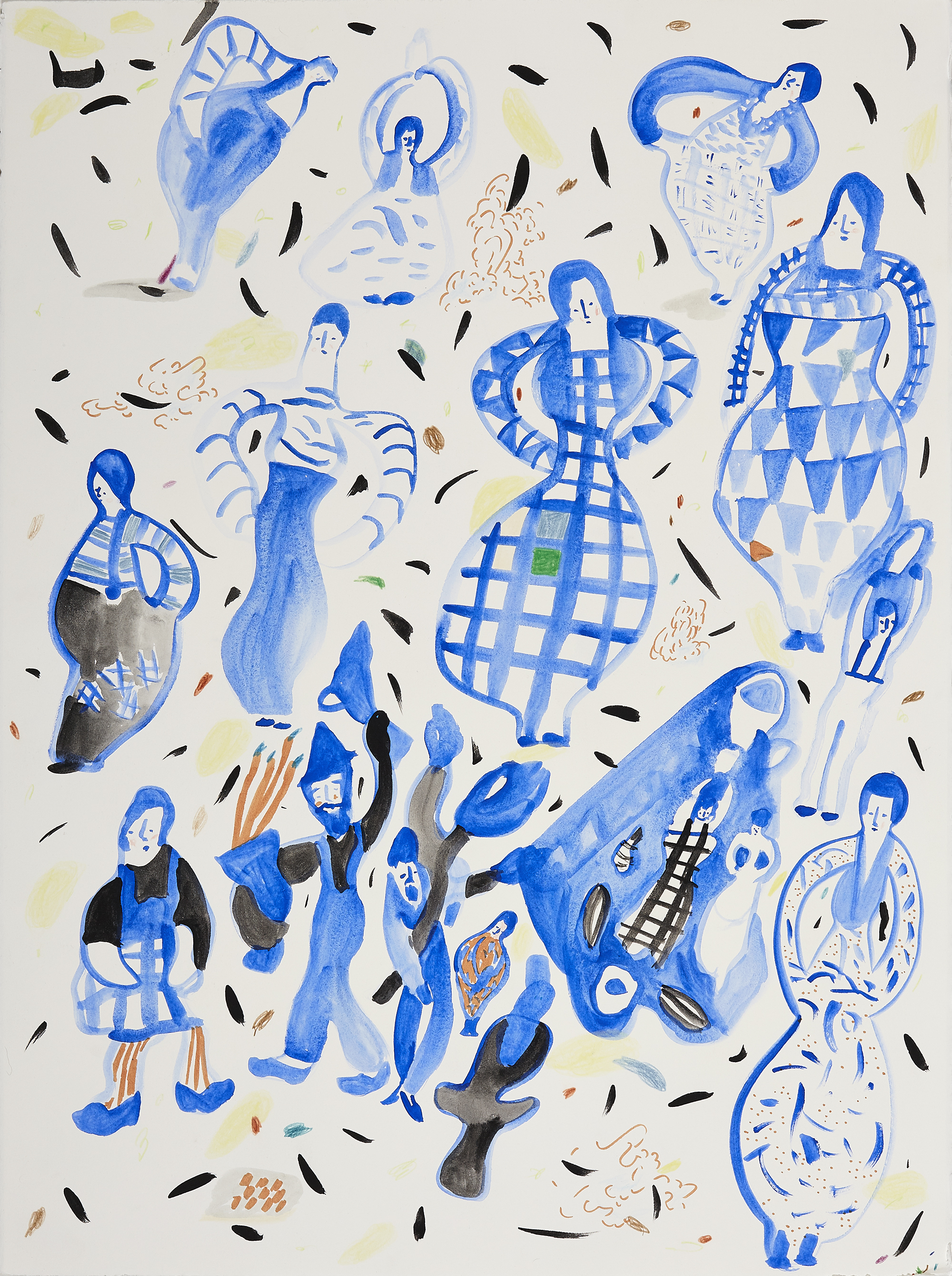 "Picasso Spitter Spatter   Gouache and watercolor on paper, 2015  22"" x 30""   Available"
