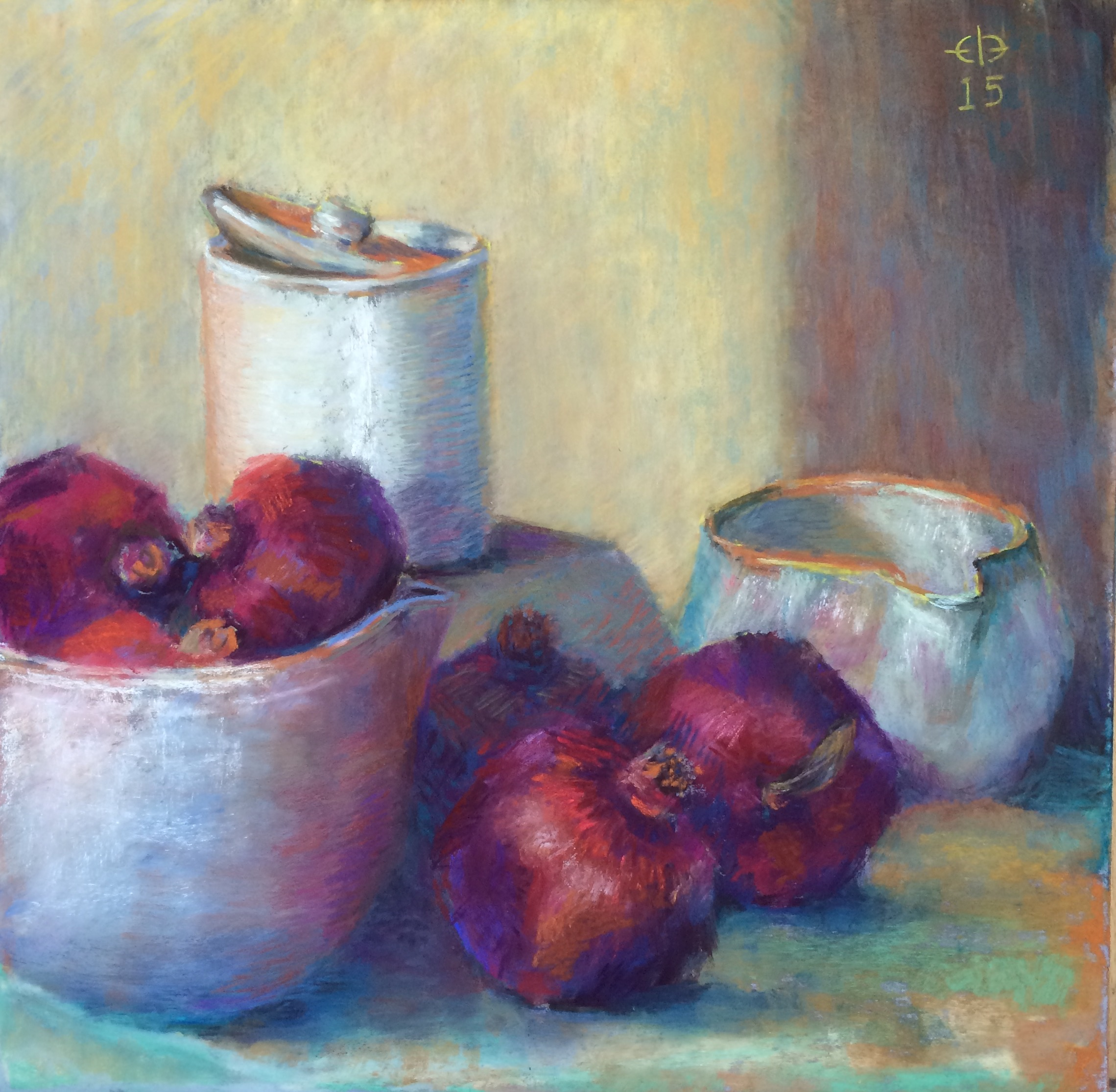 """Poms and Pots (2015, 18""""H x 18""""W) [Private Collection]"""