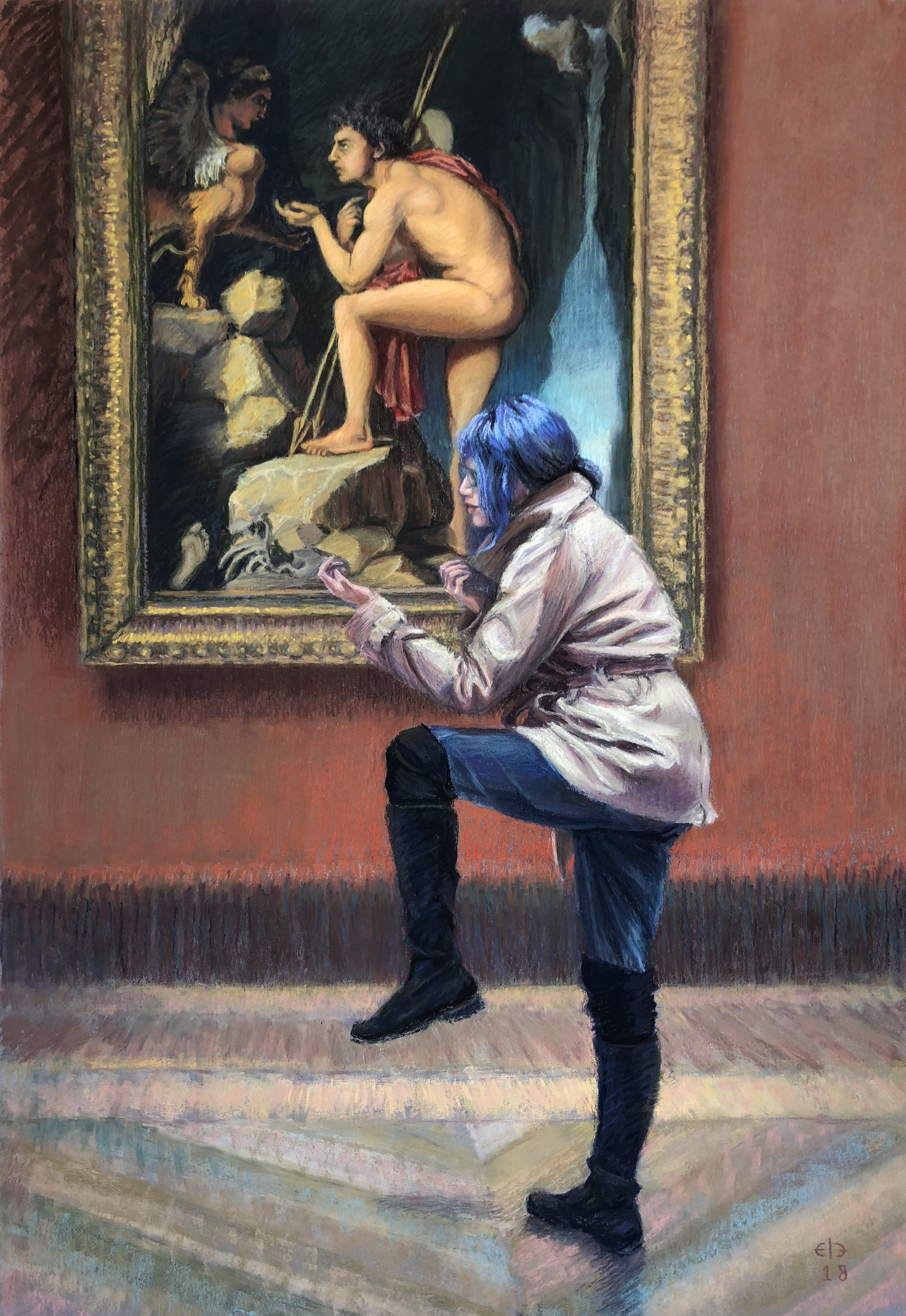 """The Riddle of the Louvre (2018, 38""""H x 26""""W)"""
