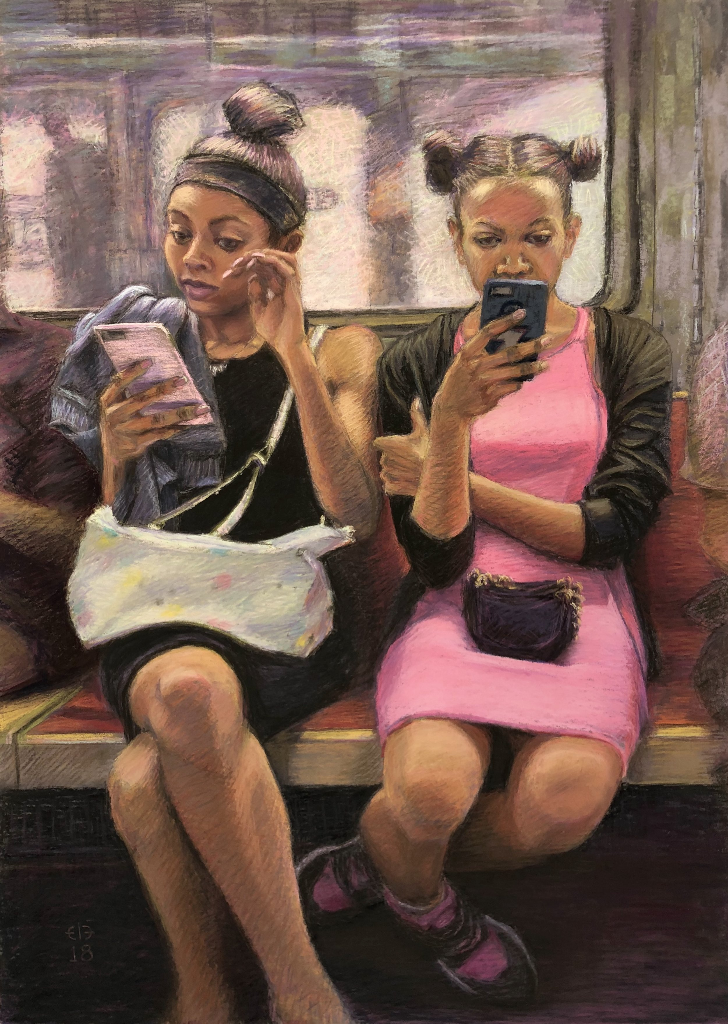 """Sunday on the 1 Train"" (Pastel, 27"" x 19"" unframed)"