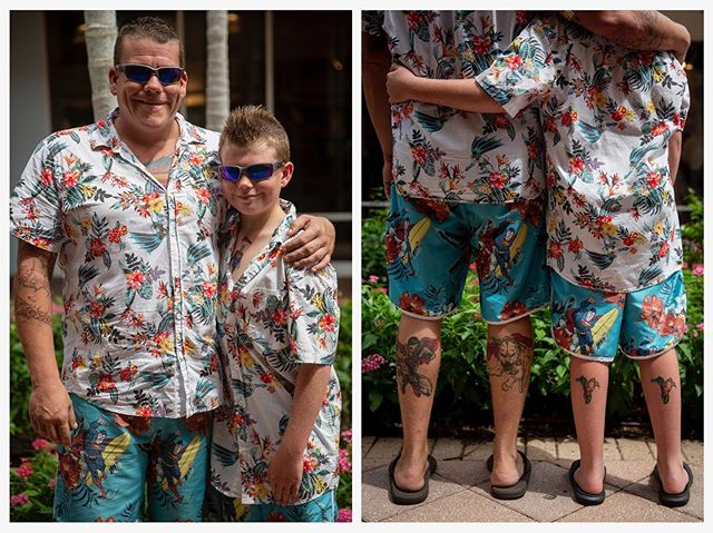 Happy early fathers day y'all // Chris Urbanski, left, and Christopher Urbanski, 10, right, pose for a portrait after winning a father and son lookalike contest at Miromar Outlets in Estero on Saturday, June 15. Christopher wore temporary tattoos to mimic his dad's real ones, but the father and son pair said they already owned their matching outfits.