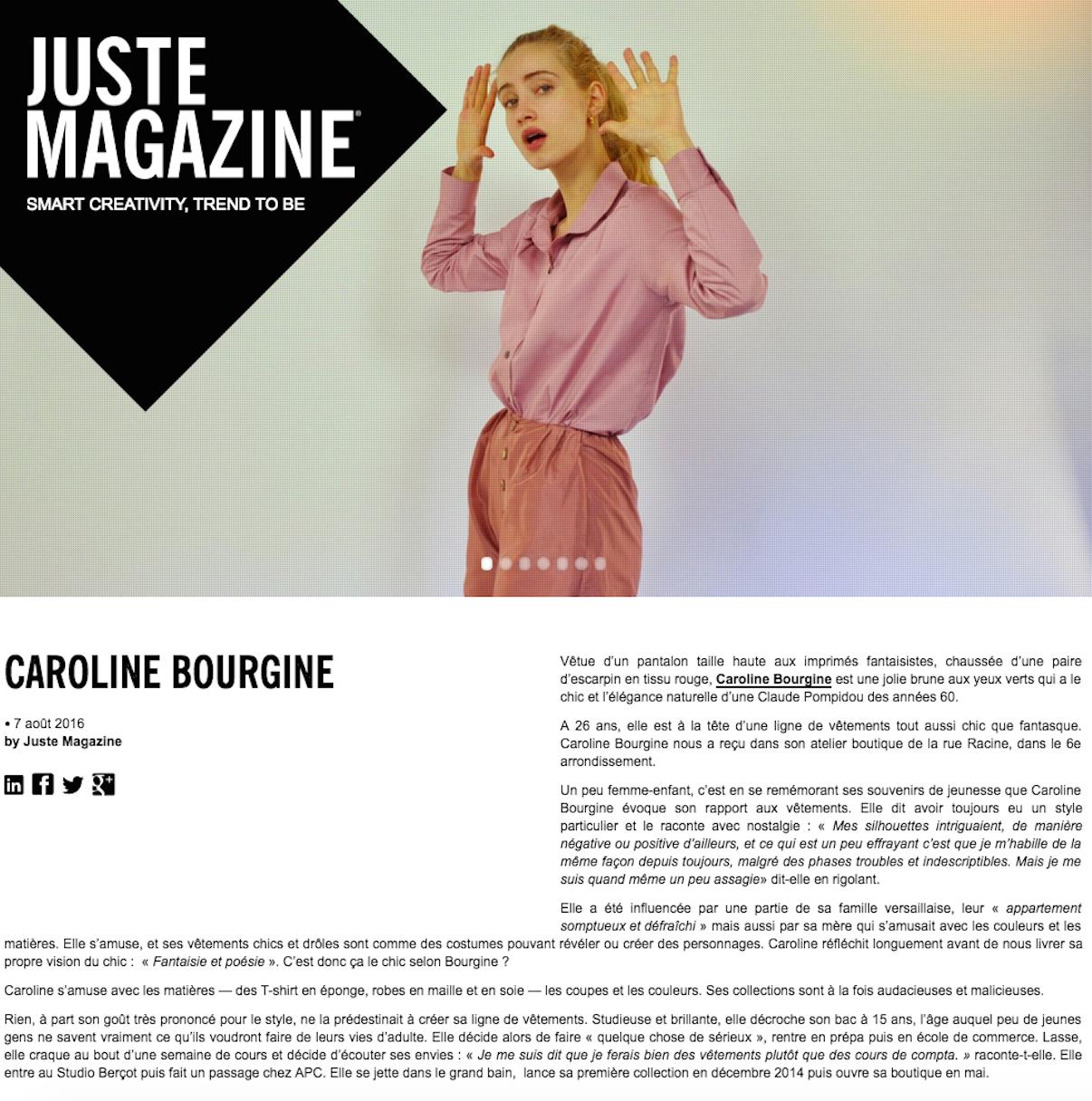 Juste Magazine - Août 2016