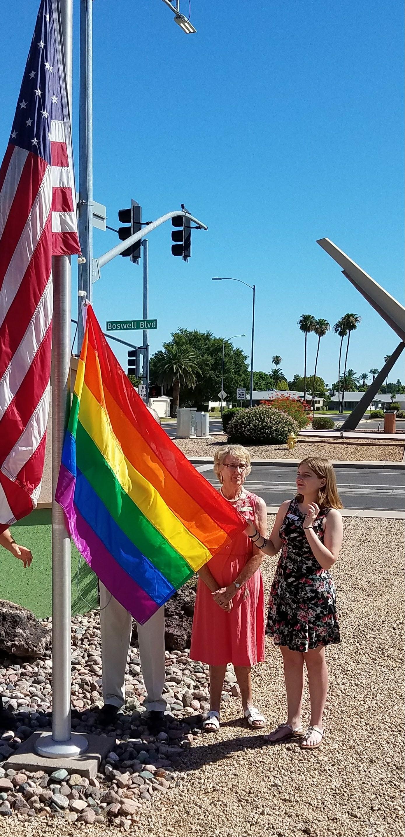 palms rainbow flag