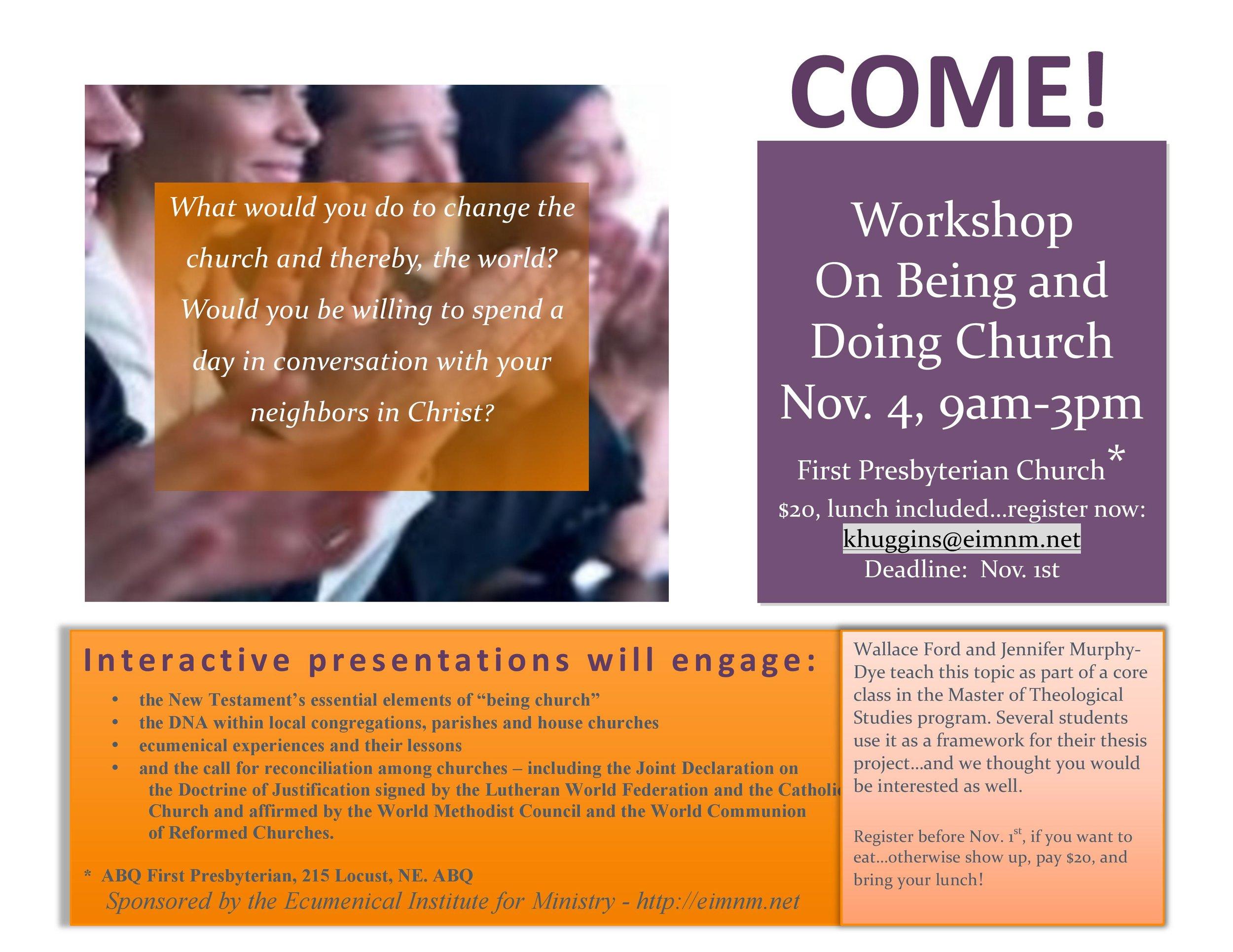 ABQ being doing church workshop