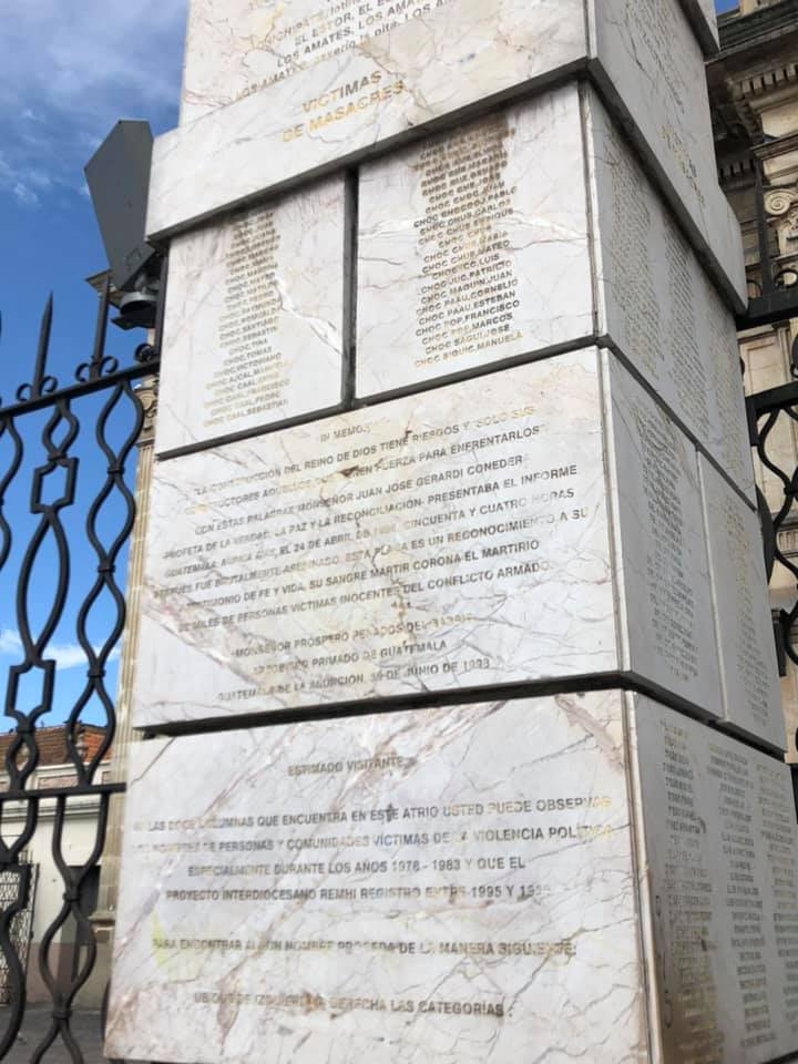 Just one of the columns bearing victim's names.